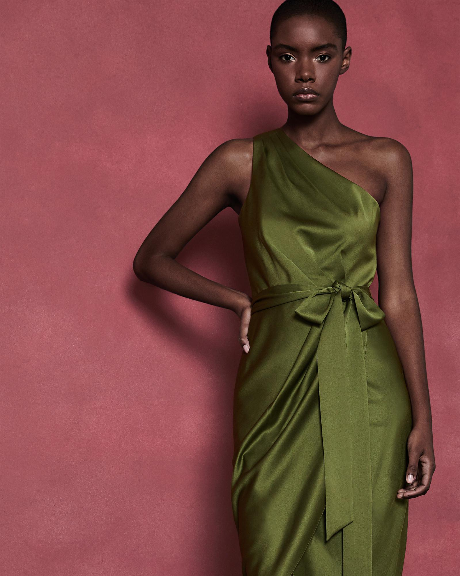 b1c3dfb5c Lyst - Ted Baker One Shoulder Drape Midi Dress in Green - Save 30%
