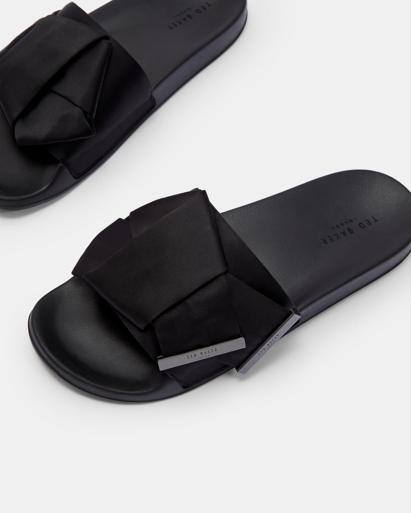 dce216f98 Ted Baker - Black Knotted Bow Sliders - Lyst. View fullscreen