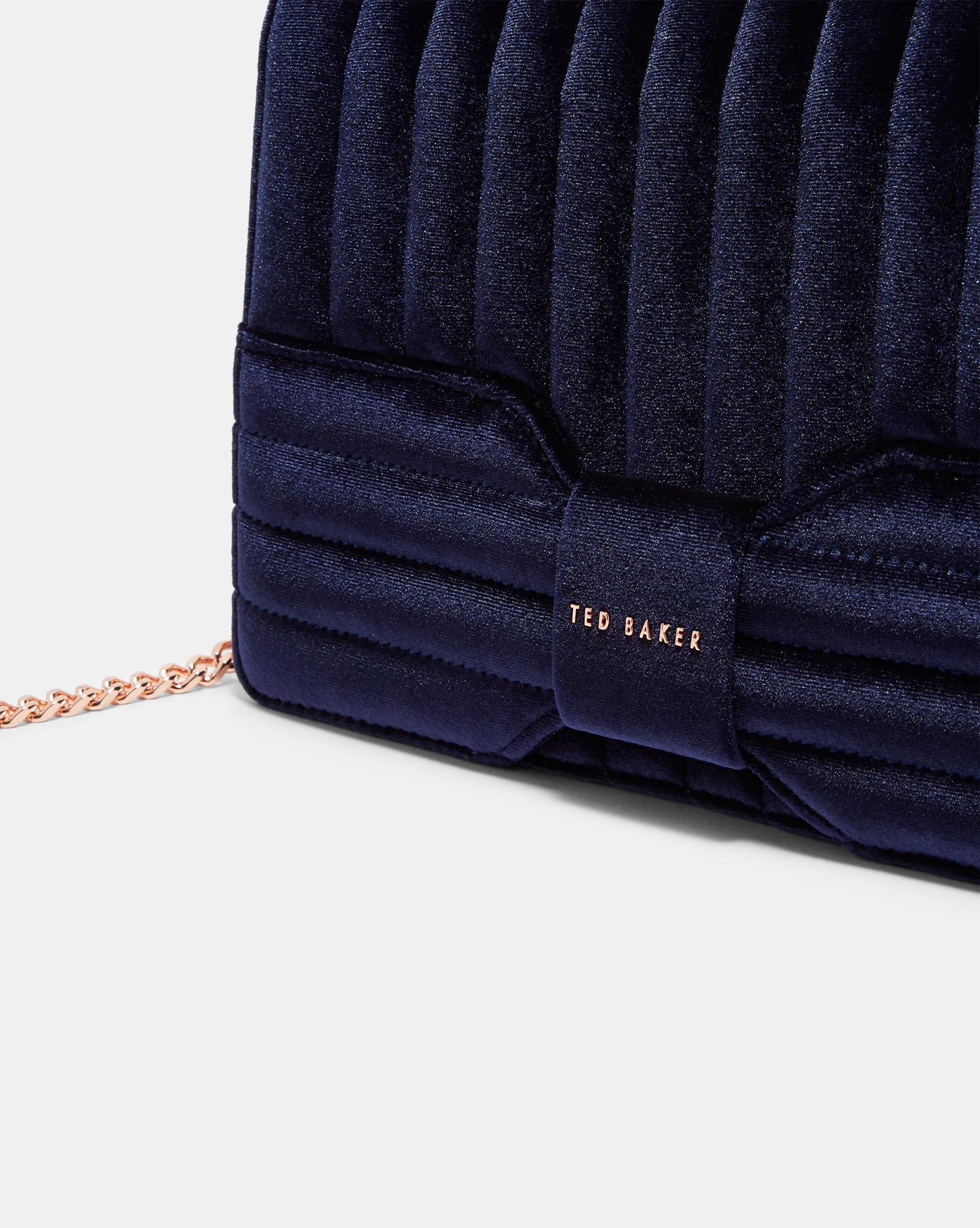 d0eb4688311fc Lyst - Ted Baker Velvet Bow Cross Body Bag in Blue