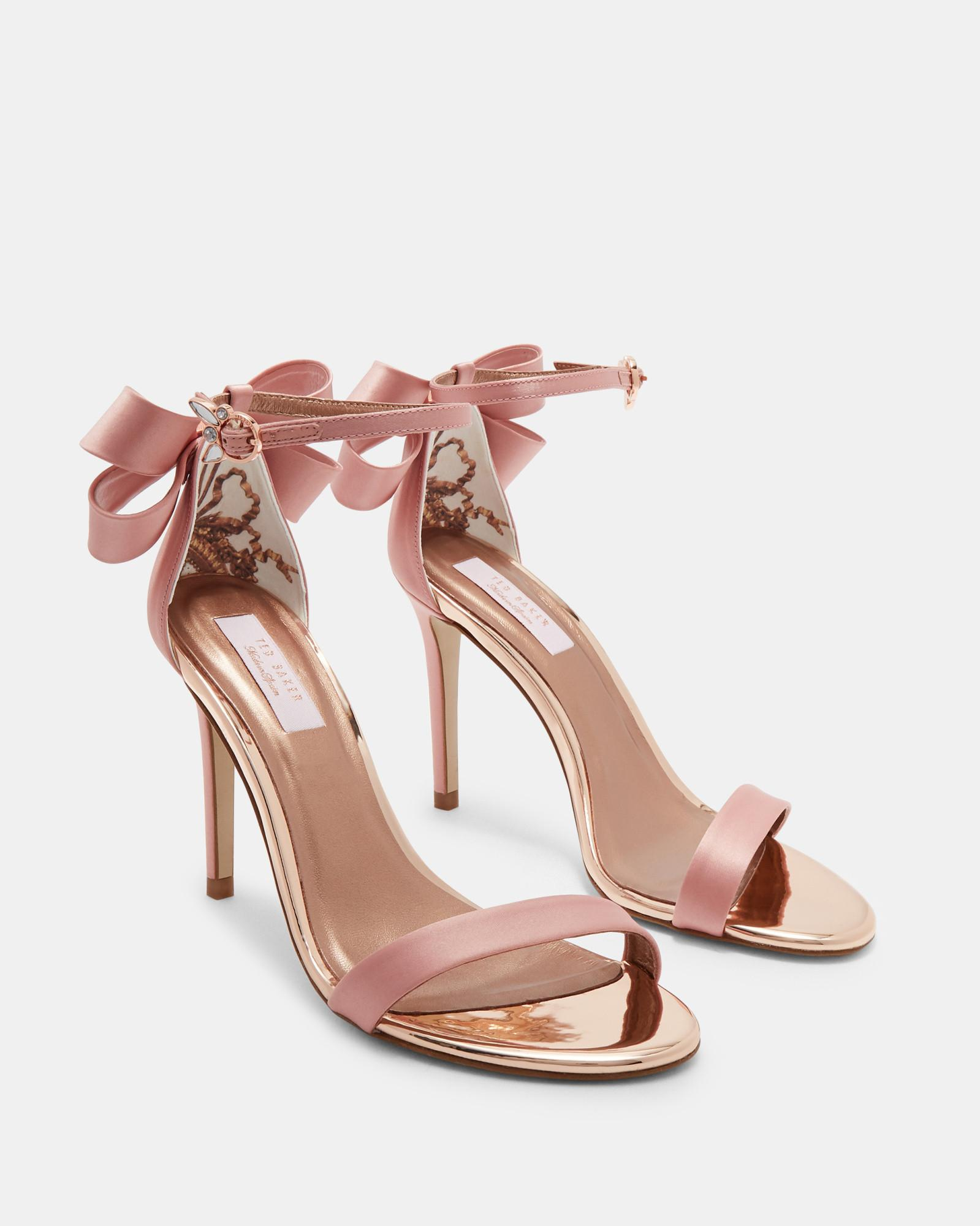 a86f898b113 Ted Baker Bow Detail Heeled Sandals in Pink - Lyst