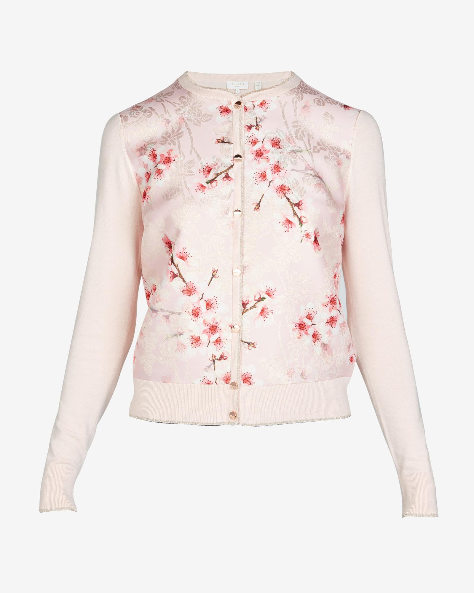 007be2319ac6ba Ted Baker Peach Blossom Jacquard Cardigan in Pink - Lyst