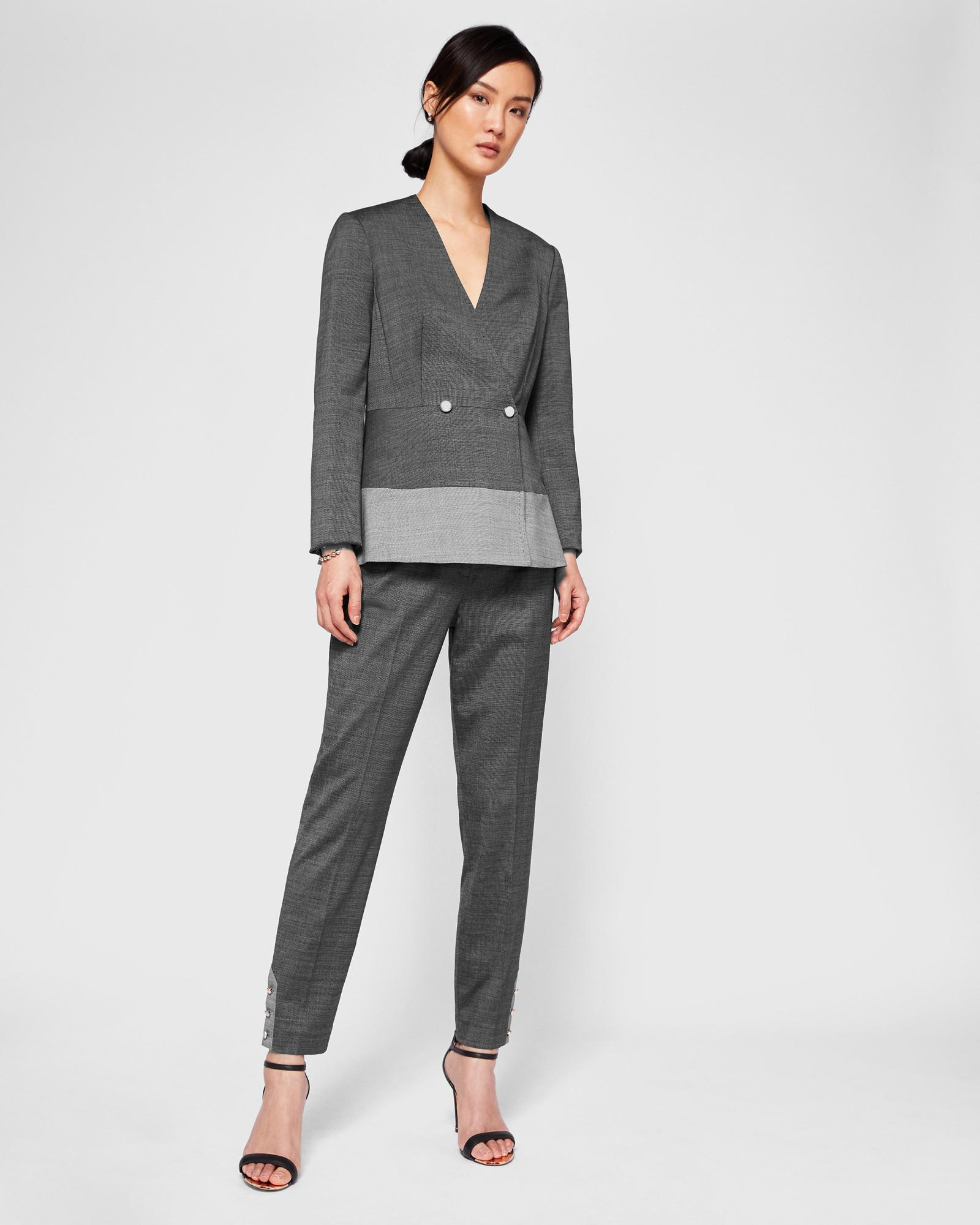bad0948f9 Ted Baker Contrast Peplum Jacket in Gray - Lyst