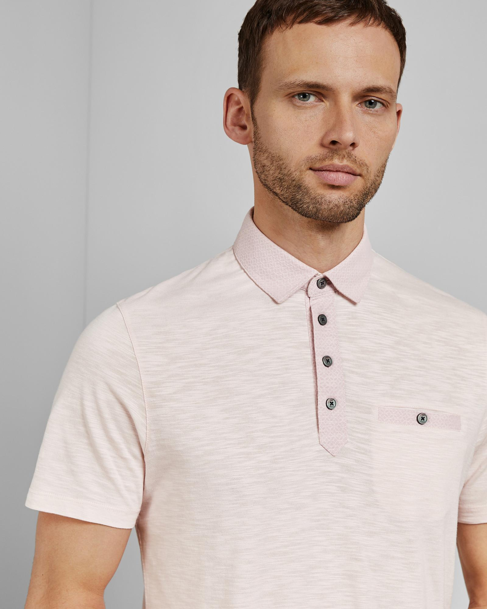 39e4352397db Lyst - Ted Baker Saharah Geo Collar Regular Fit Polo Shirt in Pink ...