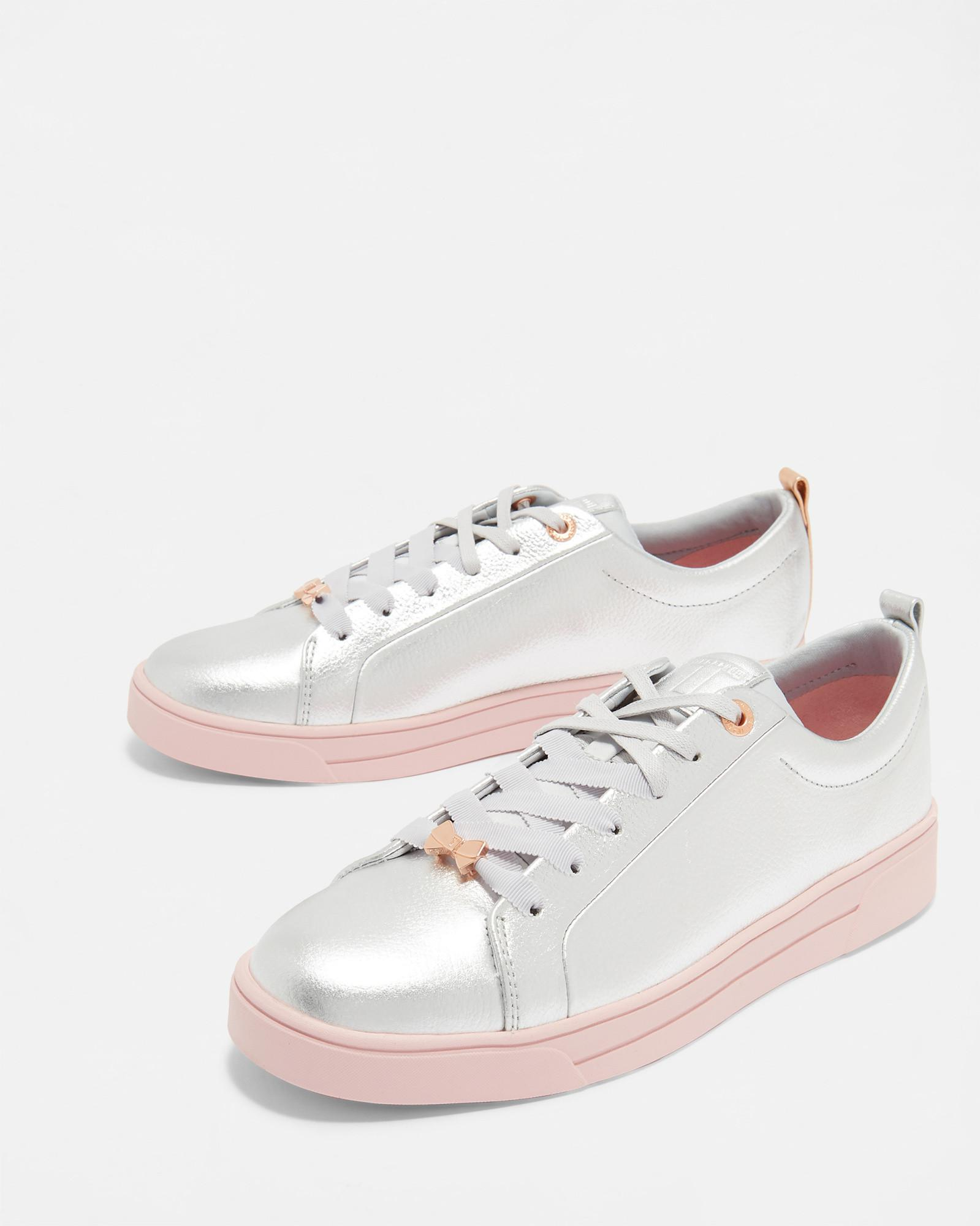0eb44e51c Ted Baker Lace Up Tennis Trainers in Metallic - Lyst