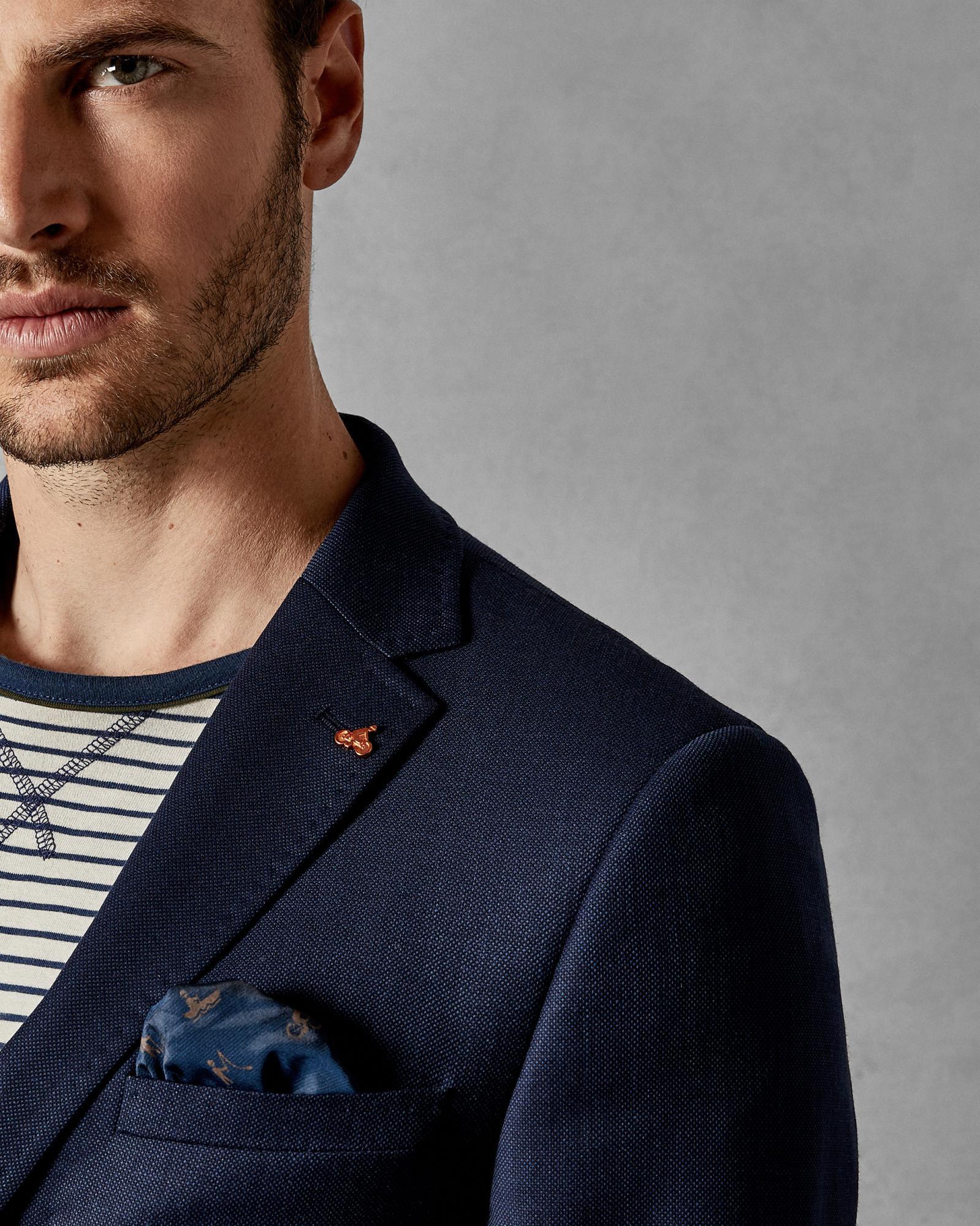 ec8cb9e16 Ted Baker Endurance Birdseye Wool Performance Suit Jacket in Blue for Men -  Lyst
