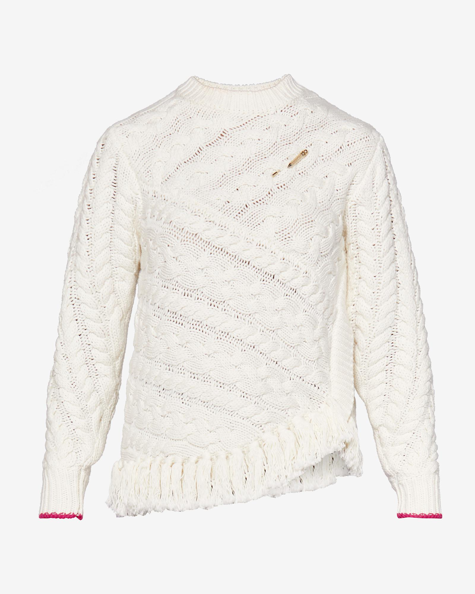 633bc32ba17a91 Lyst - Ted Baker Fringed Cable Knit Jumper in White