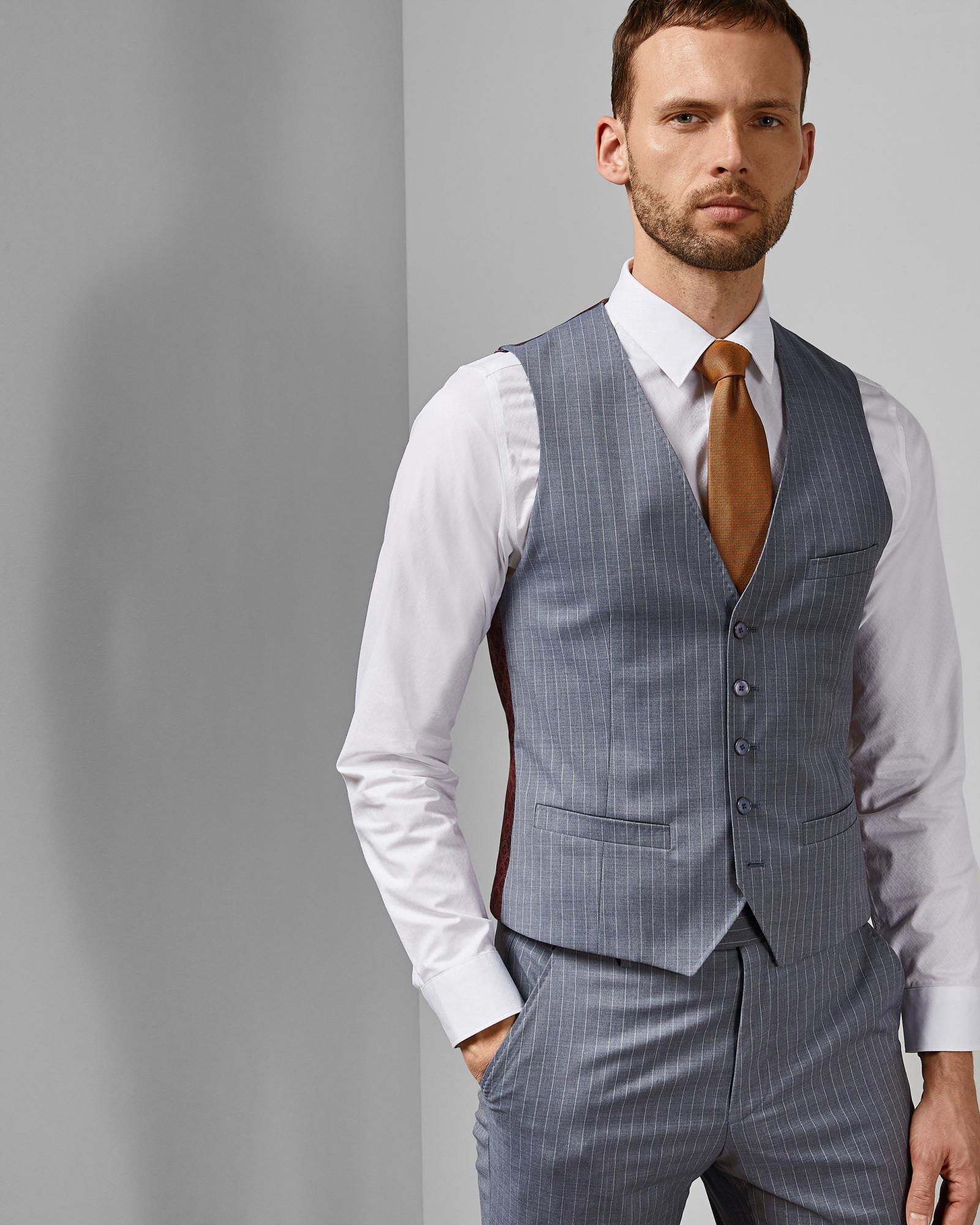 29ddbcfb9 Ted Baker Debonair Stripe Wool Waistcoat in Blue for Men - Lyst