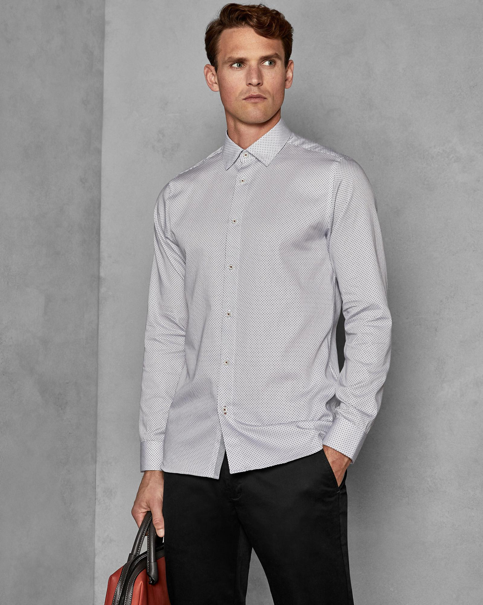 09bbdc5607ba Ted Baker Geo Print Cotton Shirt in White for Men - Lyst