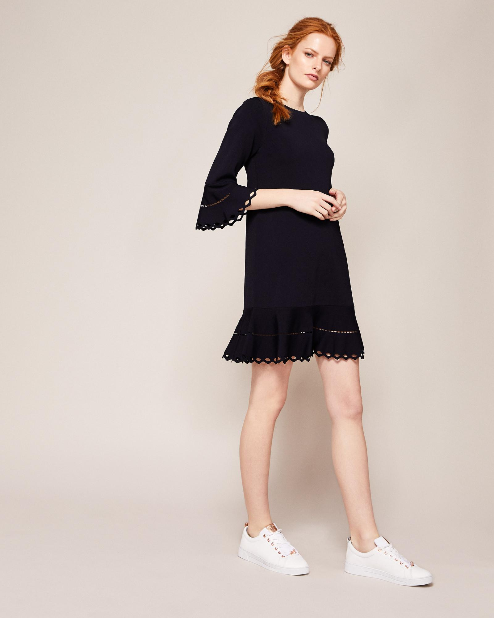 534a11b5e Lyst - Ted Baker Knitted Frill Detail Dress in Blue