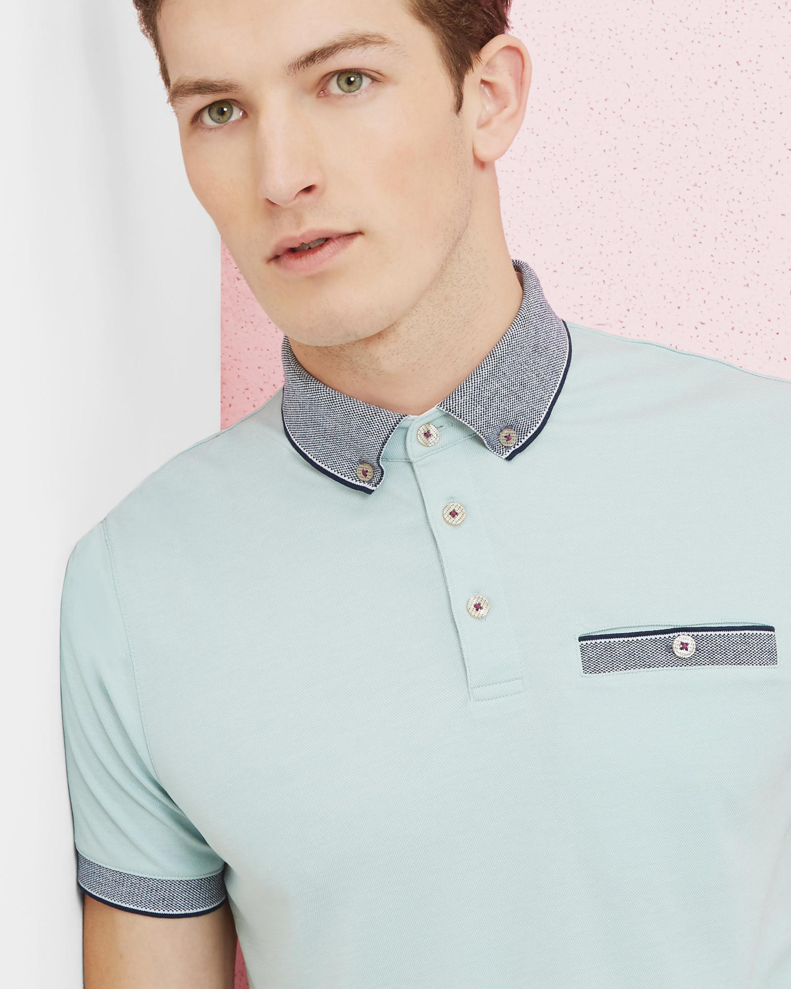 53e9305f7911ec Ted Baker Oxford Flat Knit Polo Shirt for Men - Lyst