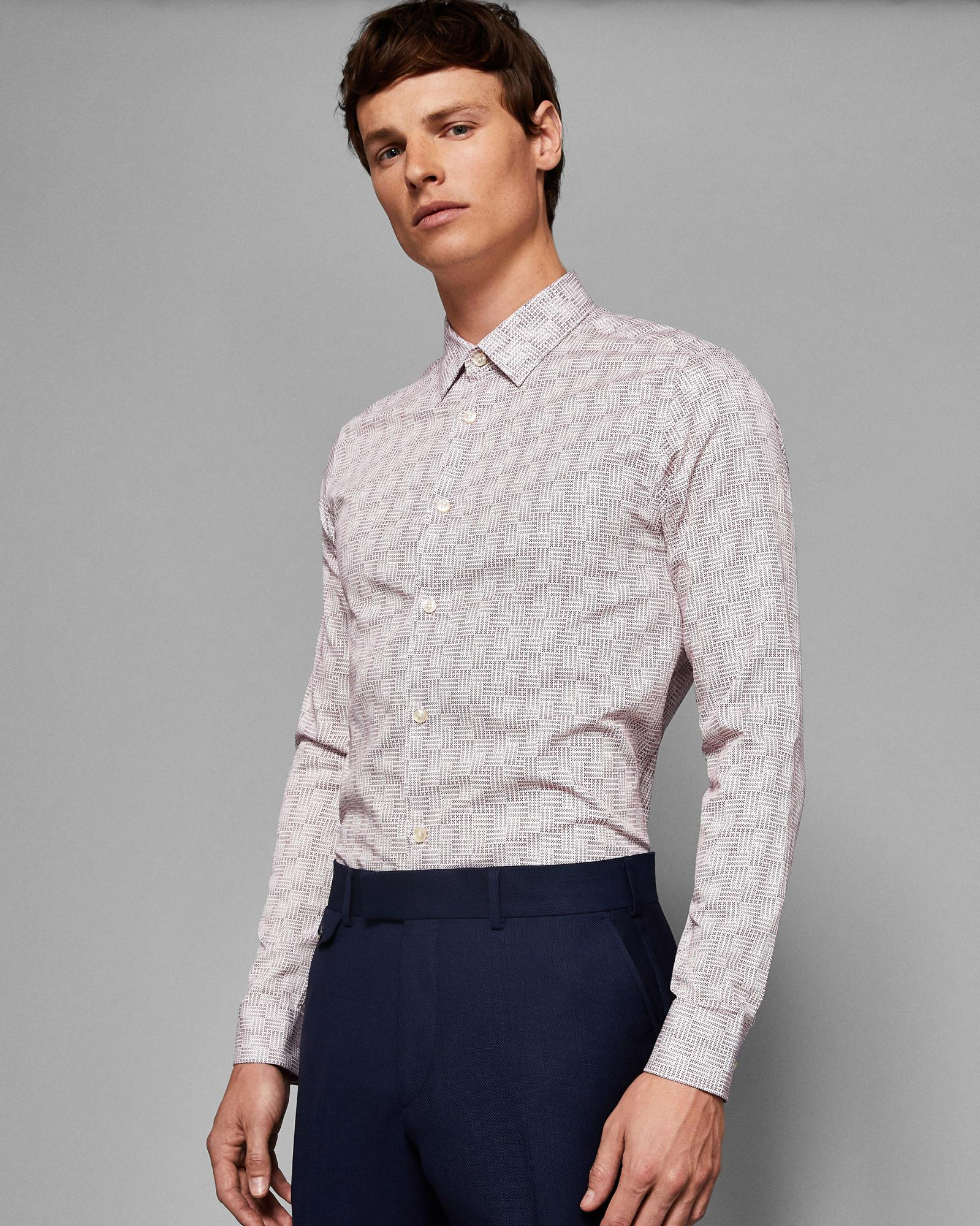 Tonal Geo Print Cotton Shirt Ted Baker Footlocker Pictures Sale Online 6VJpv