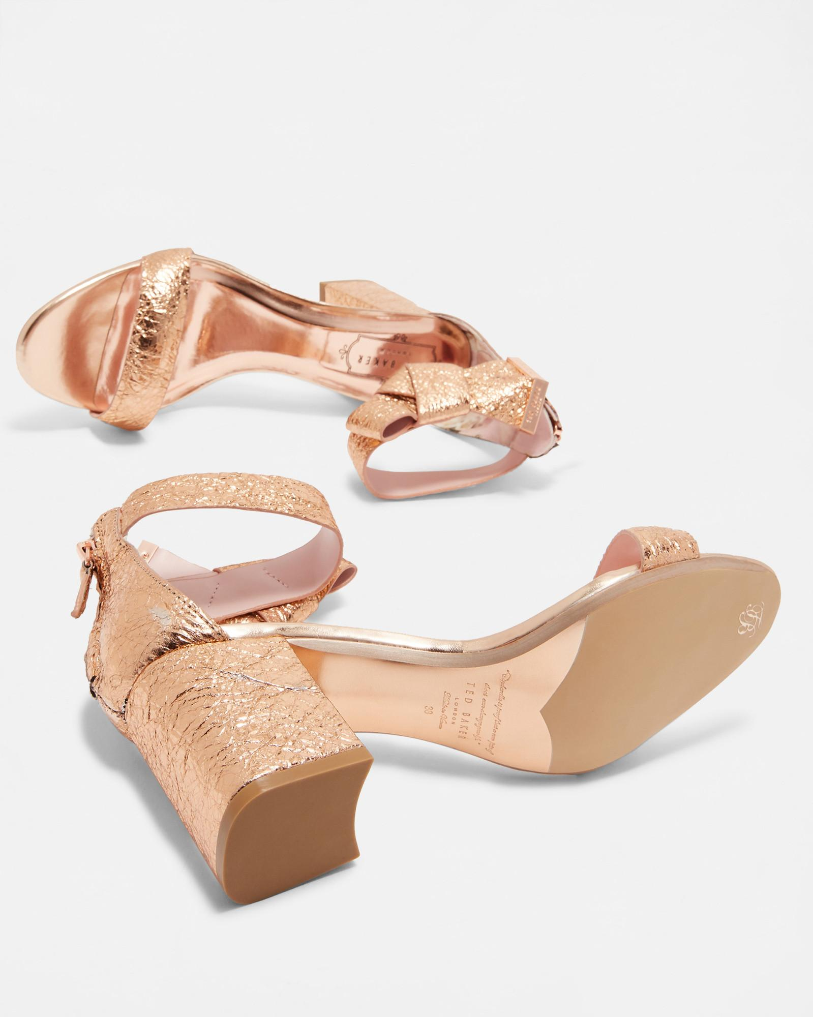 97ad264bf Ted Baker Bow Ankle Block Heel Sandal in Pink - Lyst