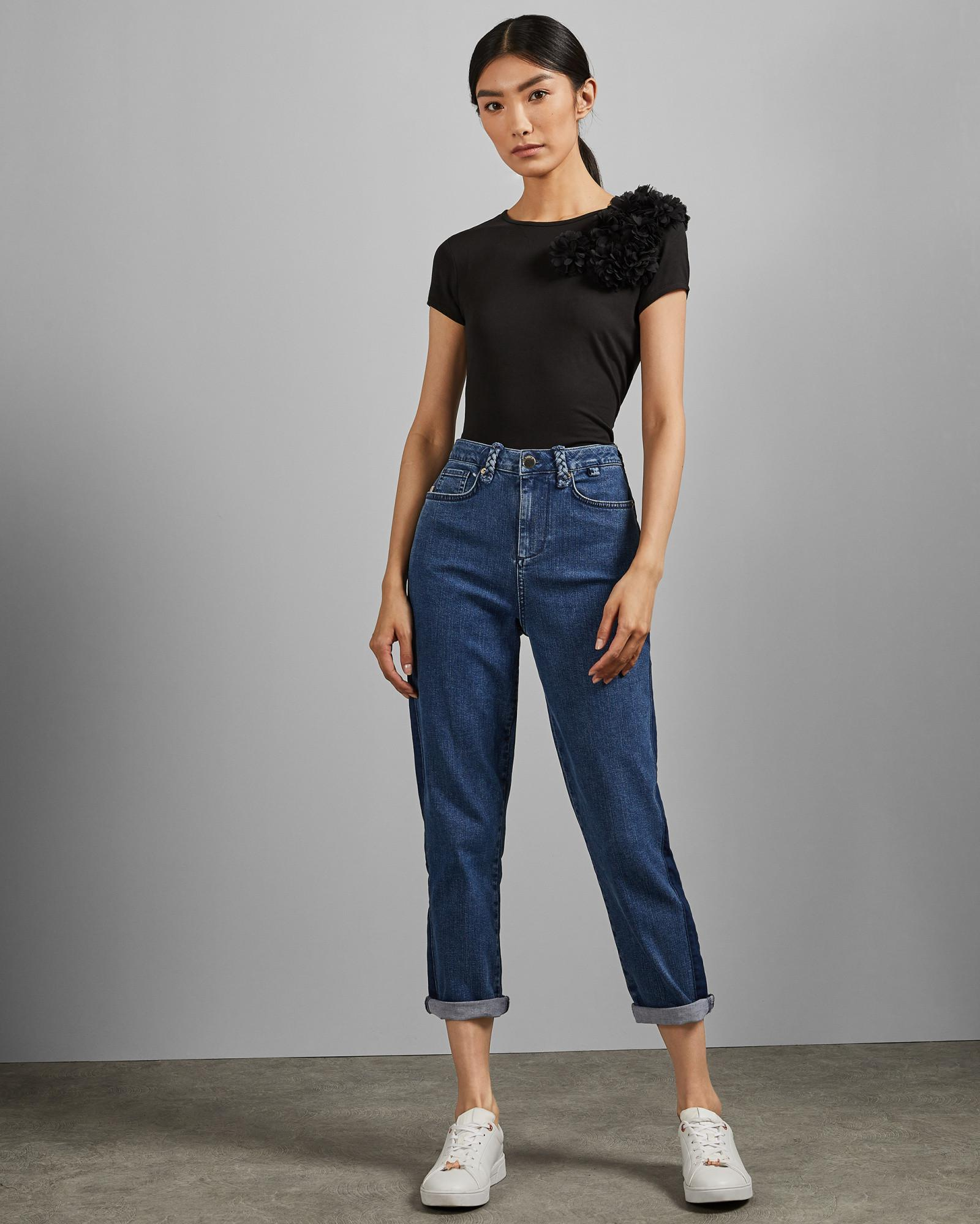 9793a0bbd Lyst - Ted Baker Embellished Fitted T-shirt in Black