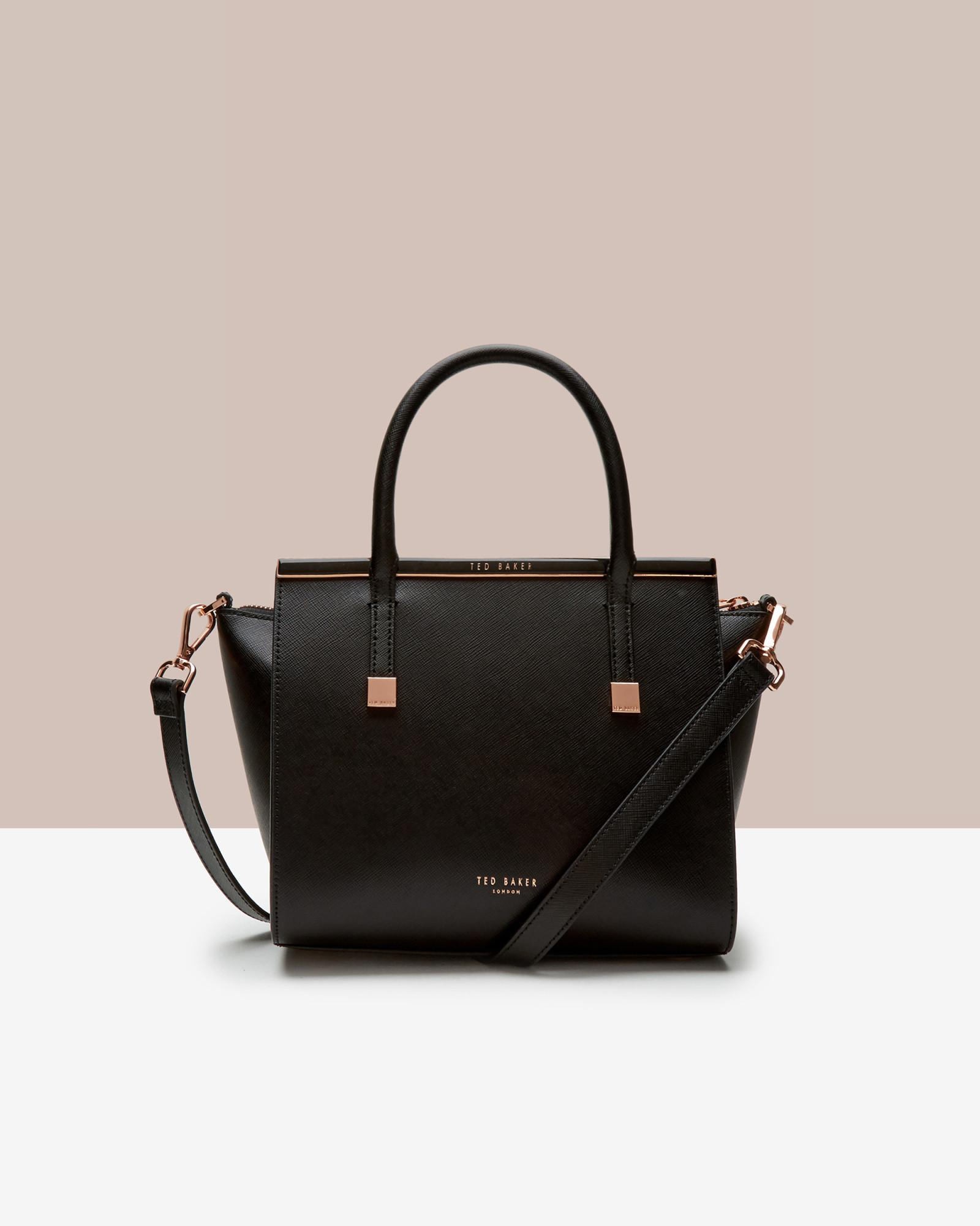 be83977d02 Ted Baker Enamel Bar Xhatch Tote in Black - Lyst