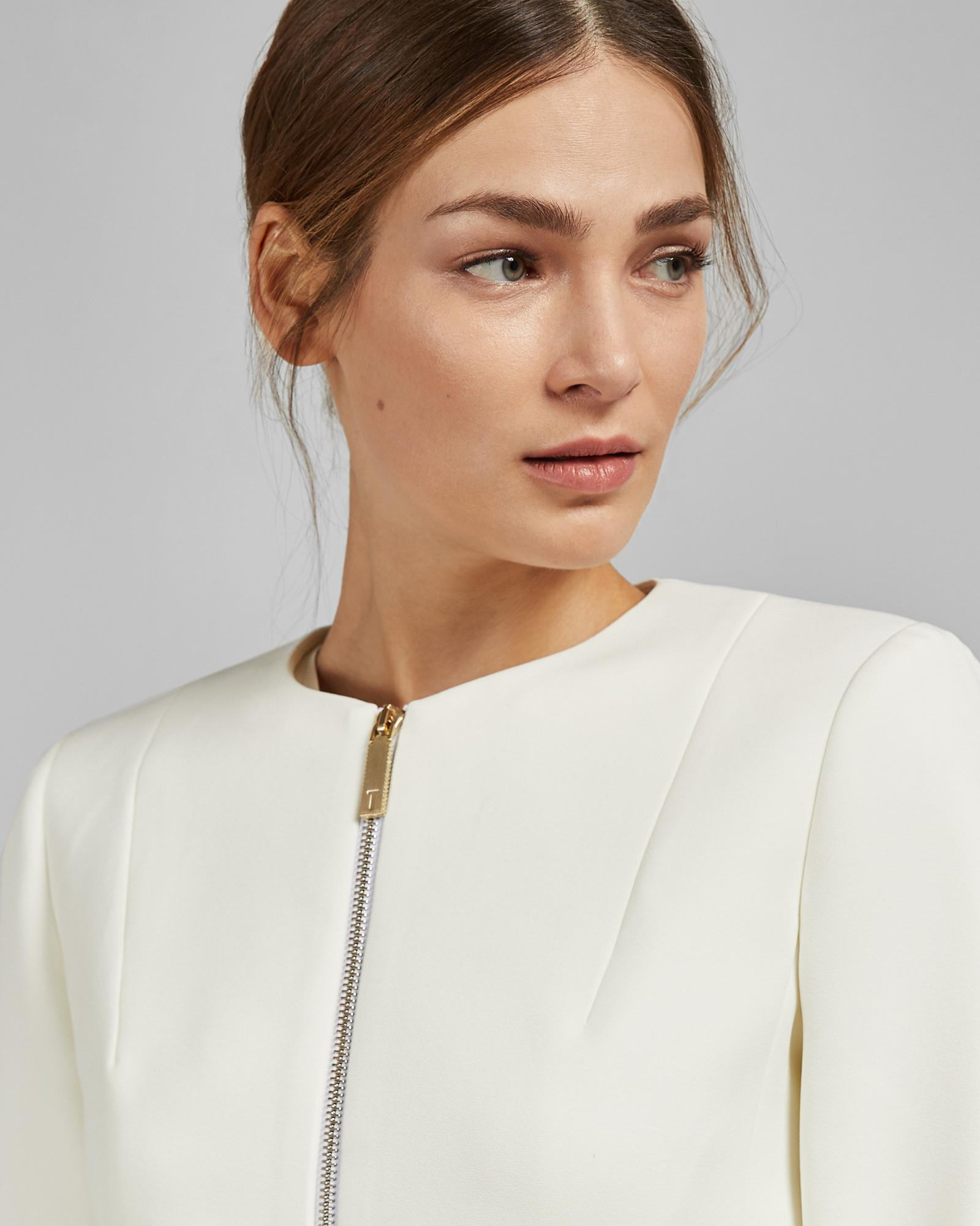 1e67fbc02 Lyst - Ted Baker Curved Hem Cropped Jacket in White