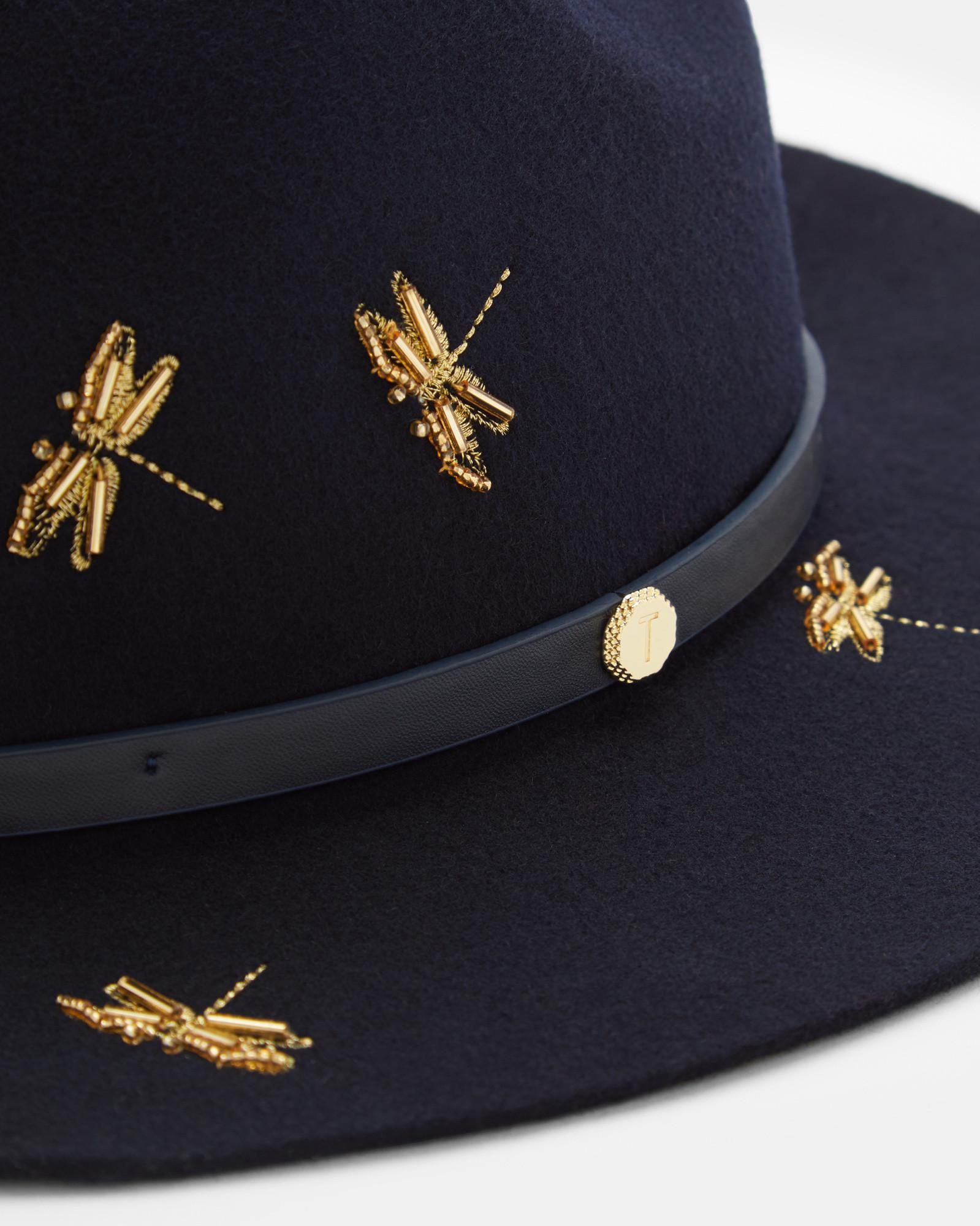 7973f4010e60e Ted Baker Dragonfly Embellished Fedora Hat in Blue - Lyst