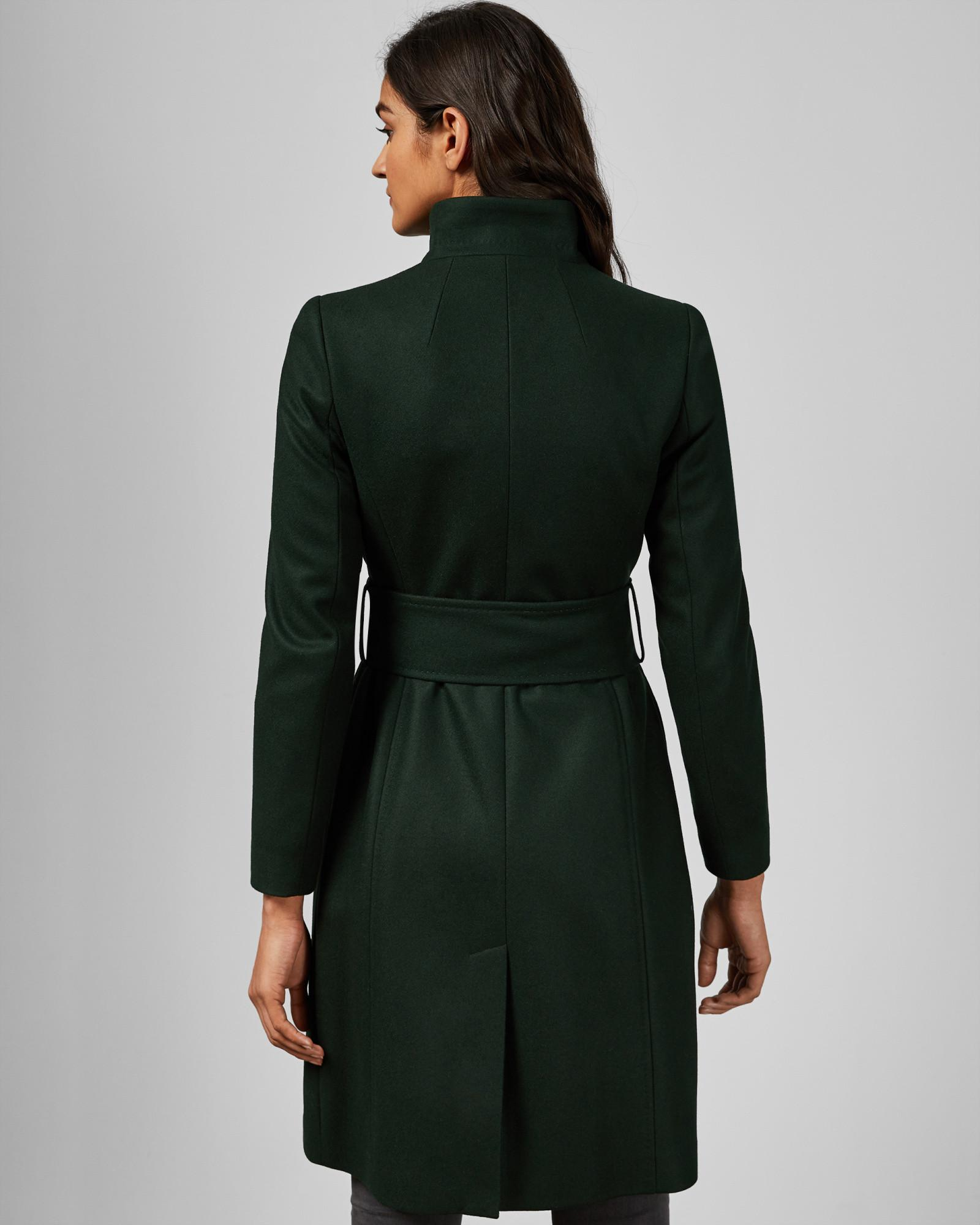 6889a11ea ... Green Belted High Neck Wool Coat - Lyst. View fullscreen