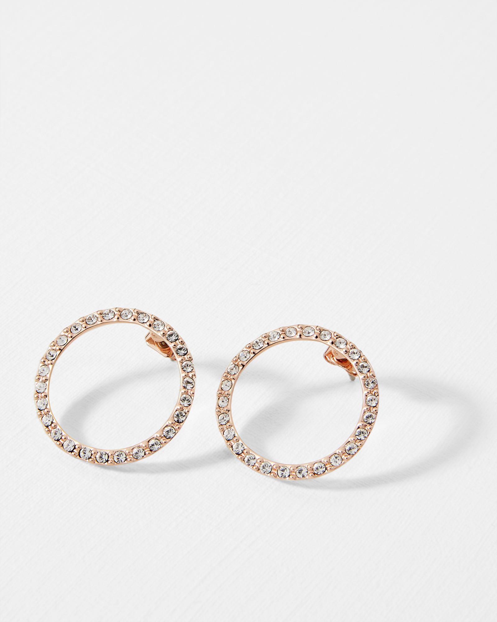 Women S Metallic Lunar Circle Swarovski Crystal Earrings