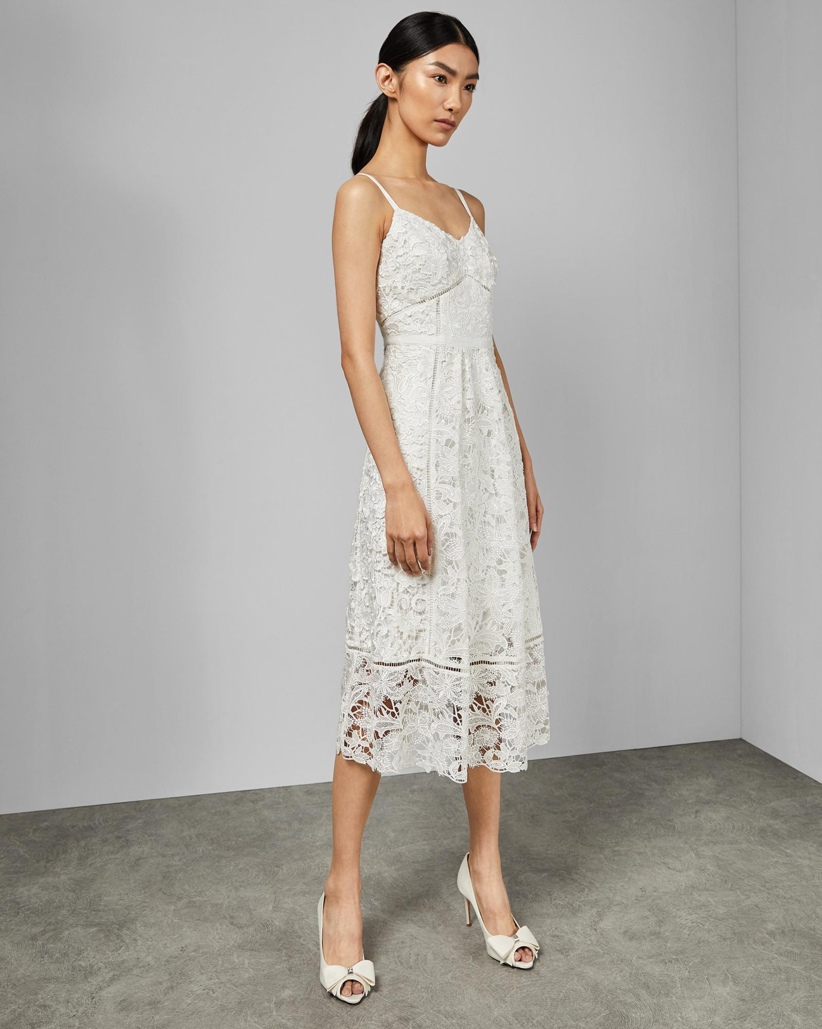 345d29499 Ted Baker - White Mixed Lace Midi Dress - Lyst. View fullscreen