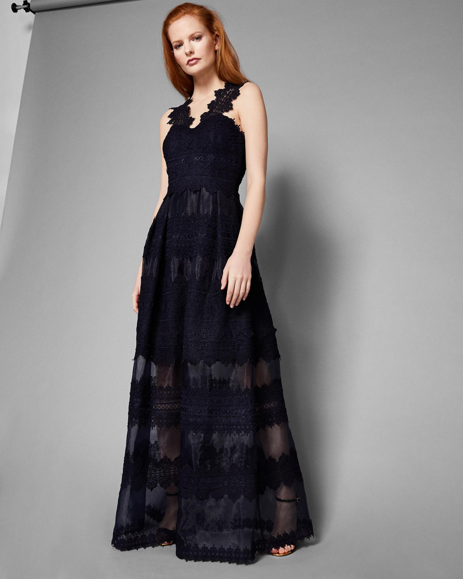 334e34ea8 Ted Baker Layered Lace Maxi Dress in Blue - Lyst