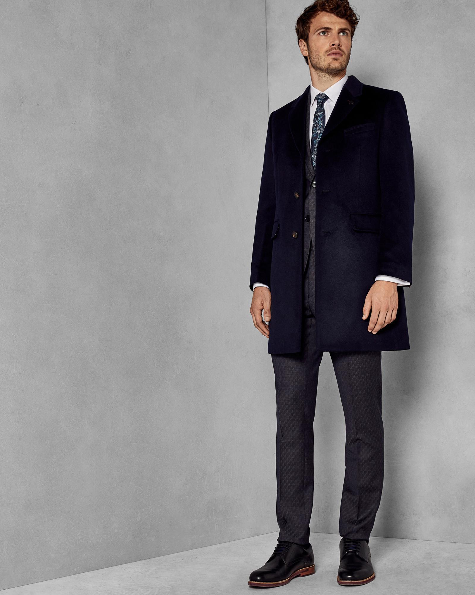 282883af8e924d Ted Baker Cashmere Overcoat in Blue for Men - Lyst