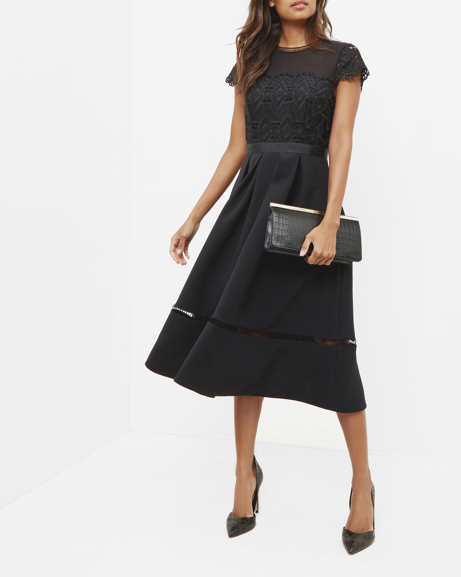 f187a9a2b2da Ted Baker Frizay Lace Bodice Full Midi Dress in Black - Lyst