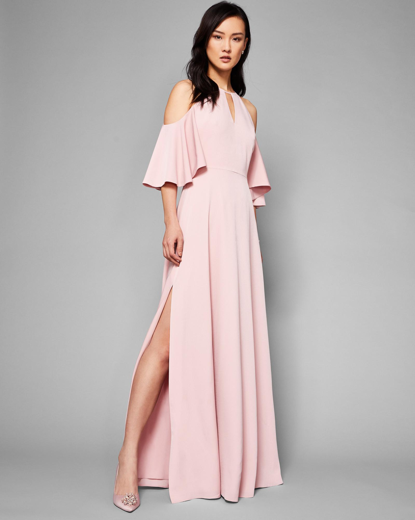 ad610a4f69f0a7 Lyst - Ted Baker Cut-out Shoulder Maxi Dress in Pink