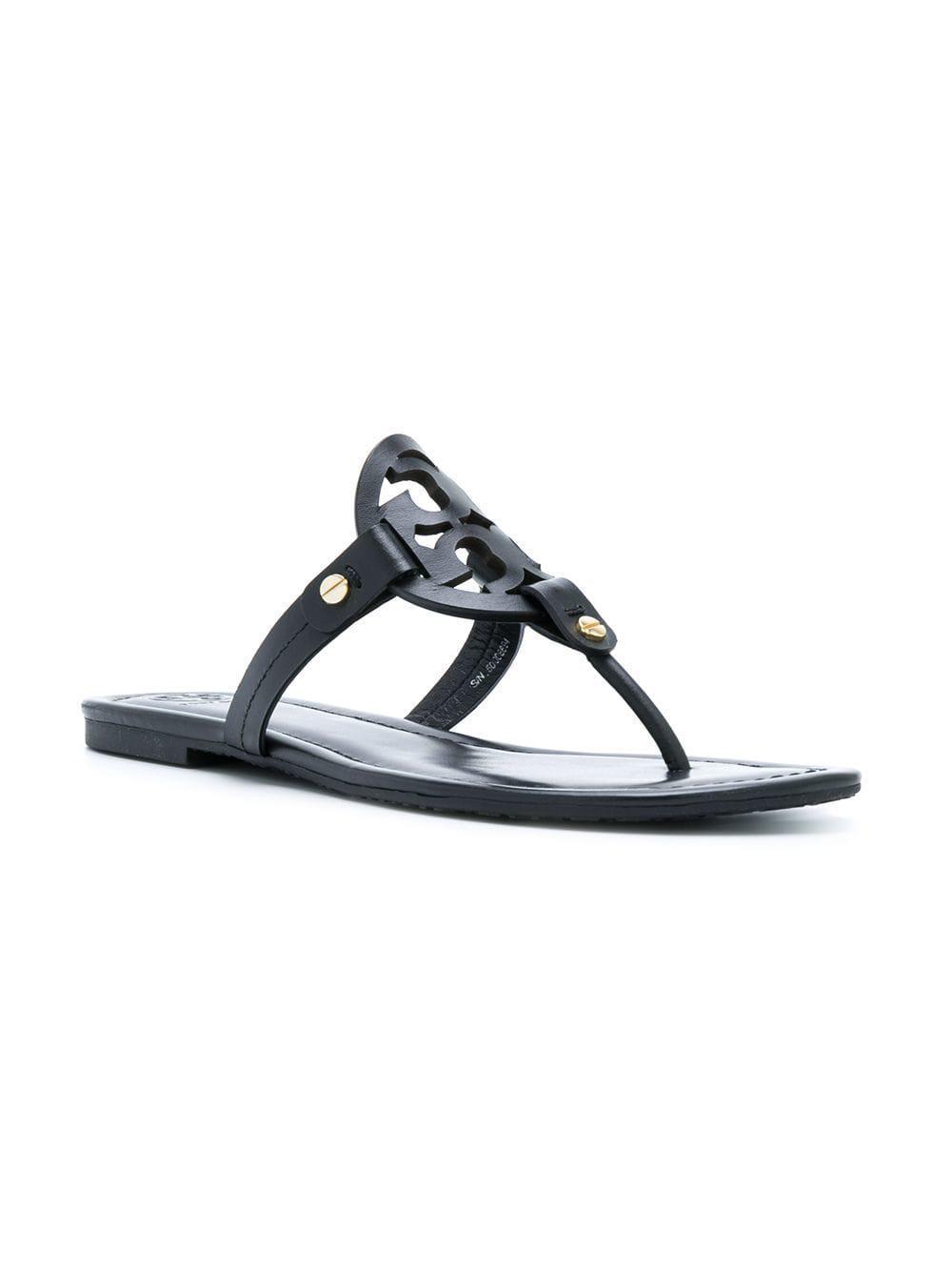 22a3c323515a11 Tory Burch - Black Miller Leather Sandals - Lyst. View fullscreen