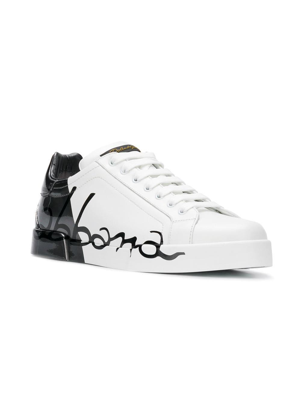 Lyst - Dolce   Gabbana Portofino Sneakers In Leather And Paint in ... 608f71104dc0