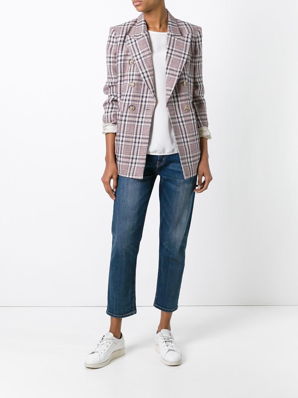 lyst toile isabel marant janey checked linen blazer in natural. Black Bedroom Furniture Sets. Home Design Ideas