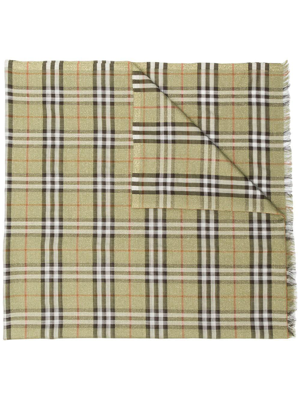 8316b426142b Lyst - Burberry Wool And Silk Blend Check Scarf in Green - Save 48%