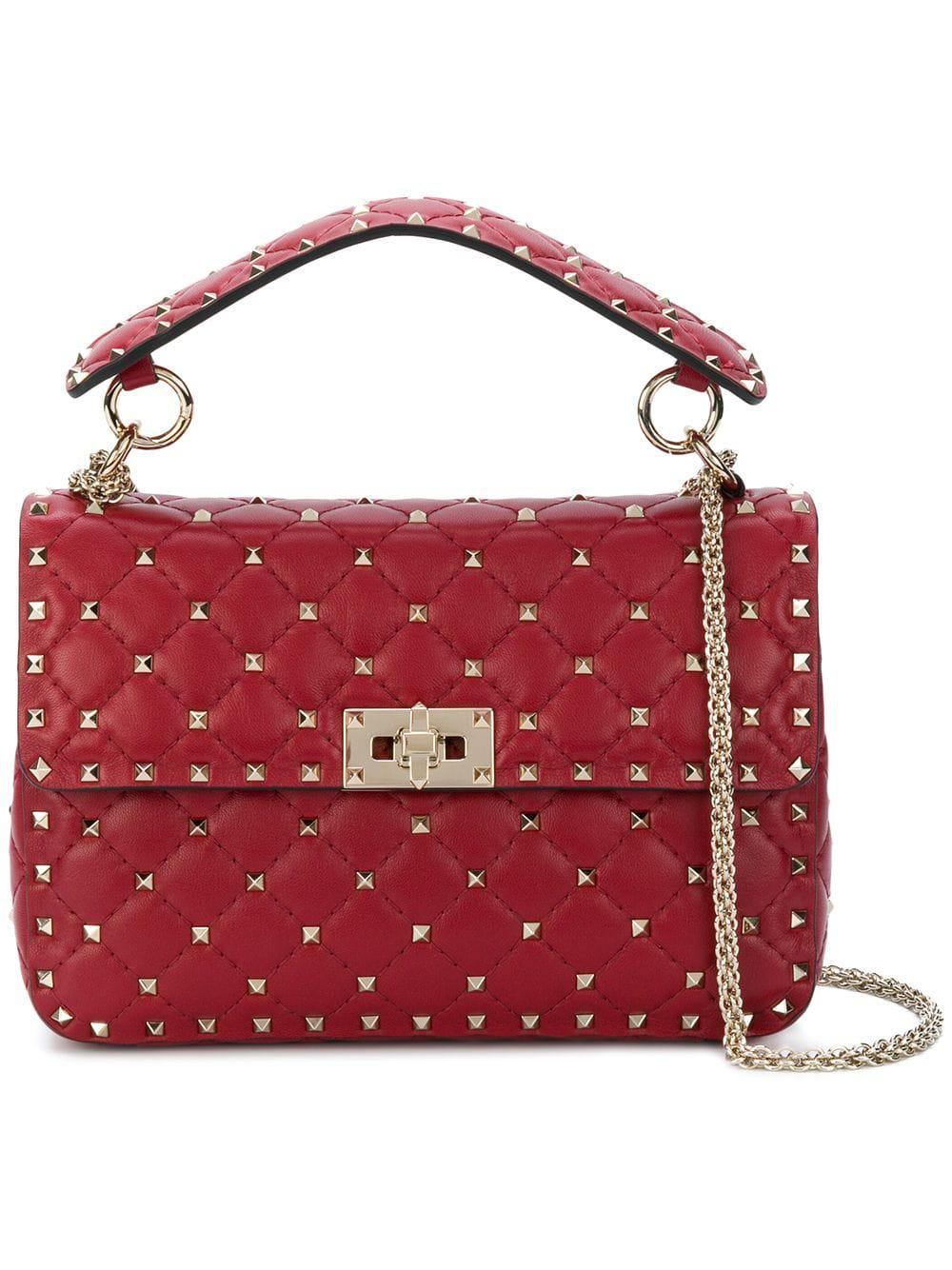 17039a190531 Lyst - Valentino Garavani Rockstud Spike Crossbody Bag in Red - Save 43%