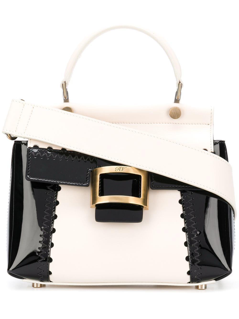 Roger Vivier Viv Cabas Mini Patent Leather Shoulder Bag in Black - Lyst 3158a7e8c0fb6