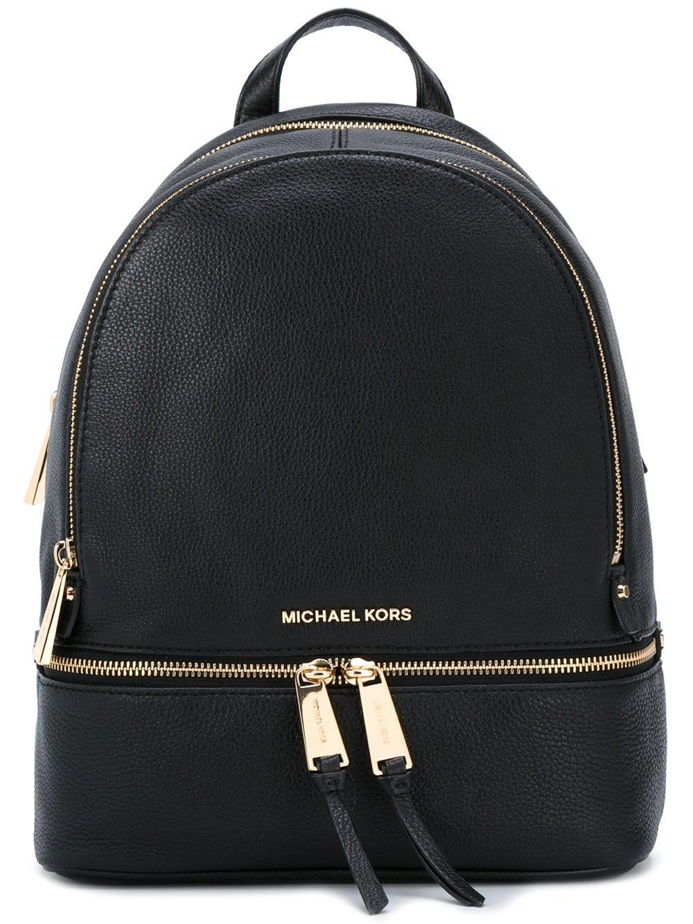 604b406eda1c Lyst - MICHAEL Michael Kors Rhea Zip Leather Backpack in Black ...