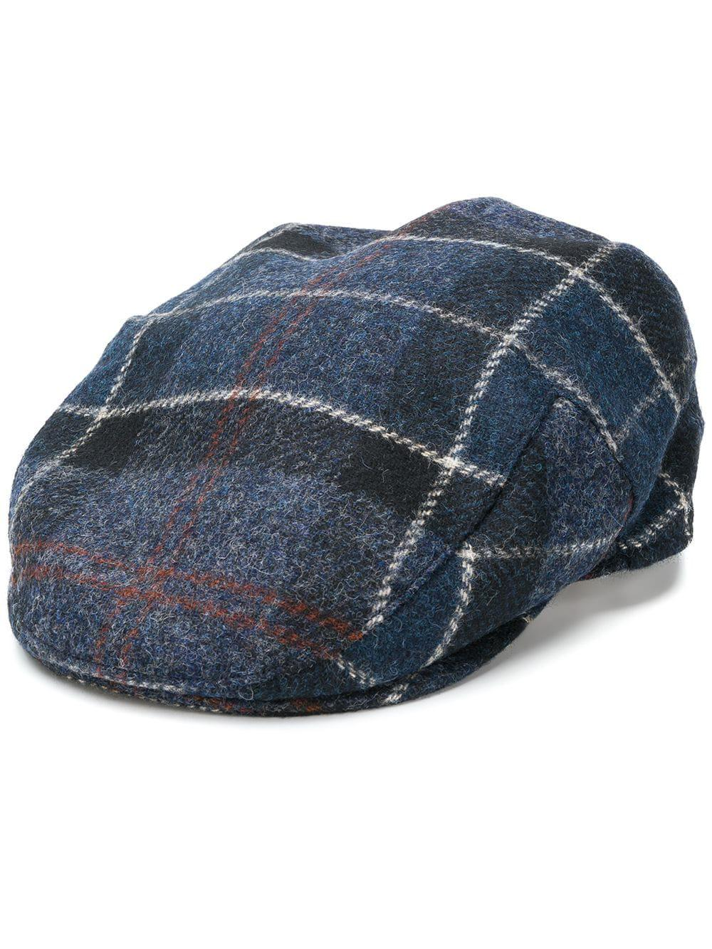 6058df8bb7c Barbour Checked Flat Cap in Blue for Men - Save 2.898550724637687 ...
