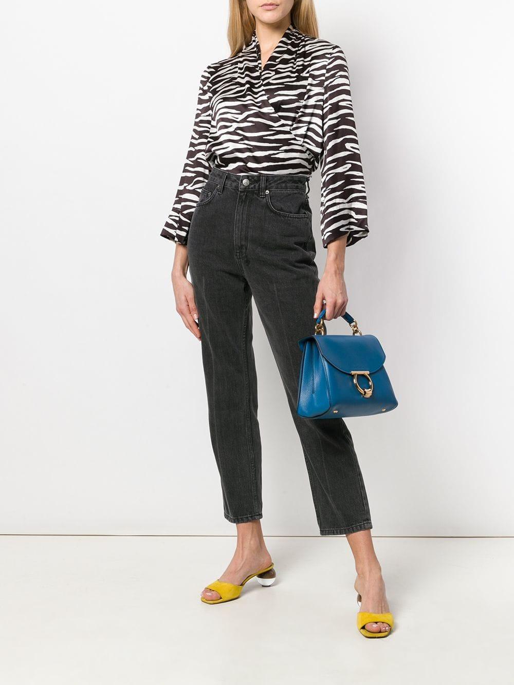 54c891105d95 Lyst - Ferragamo Margot Leather Shoulder Bag in Blue
