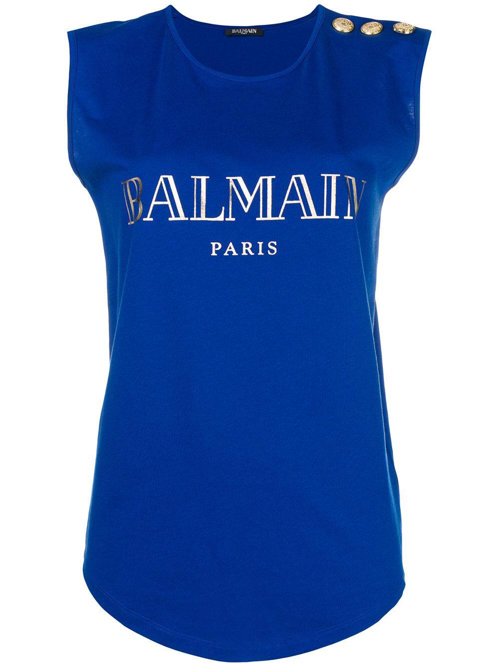 544ad80a Balmain Logo Print Cotton T-shirt in Blue - Save 4.060913705583758 ...