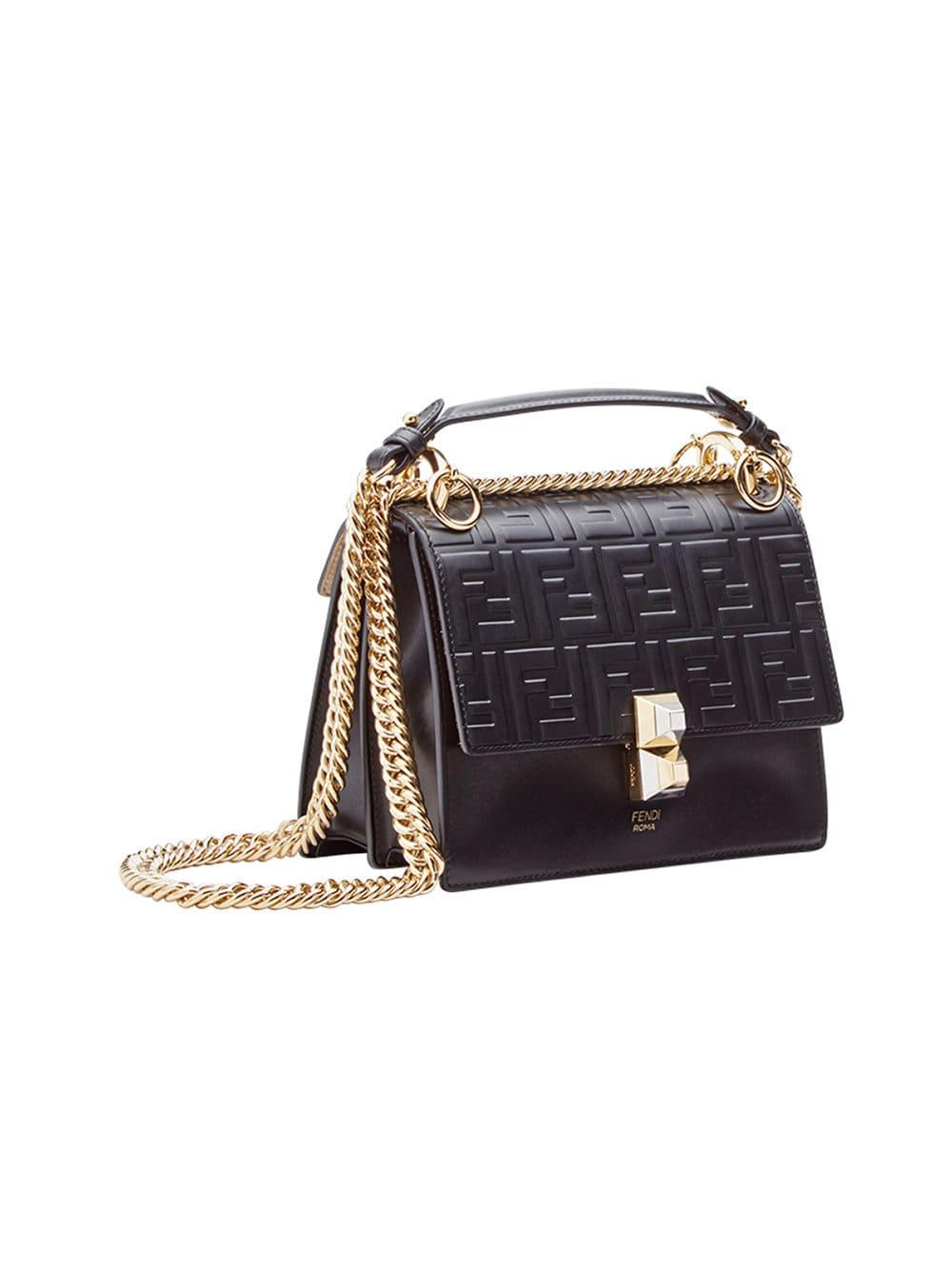 d96ea264126a Lyst - Fendi Kan I Small Leather Shoulder Bag in Black