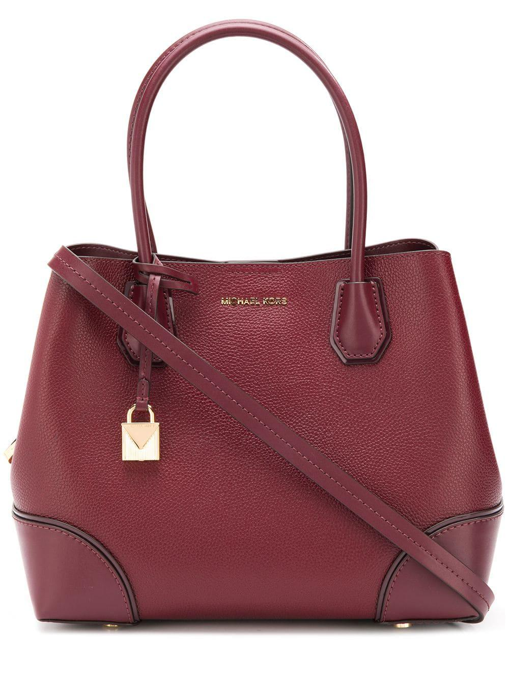 b76782ee22e49 Lyst - MICHAEL Michael Kors Mercer Gallery Leather Tote Bag in Red