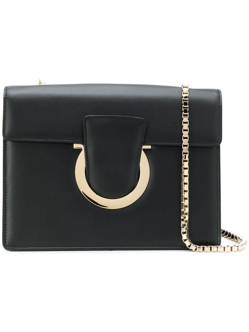 8911d56ab239 Lyst - Ferragamo Thalia Leather Shoulder Bag in Black