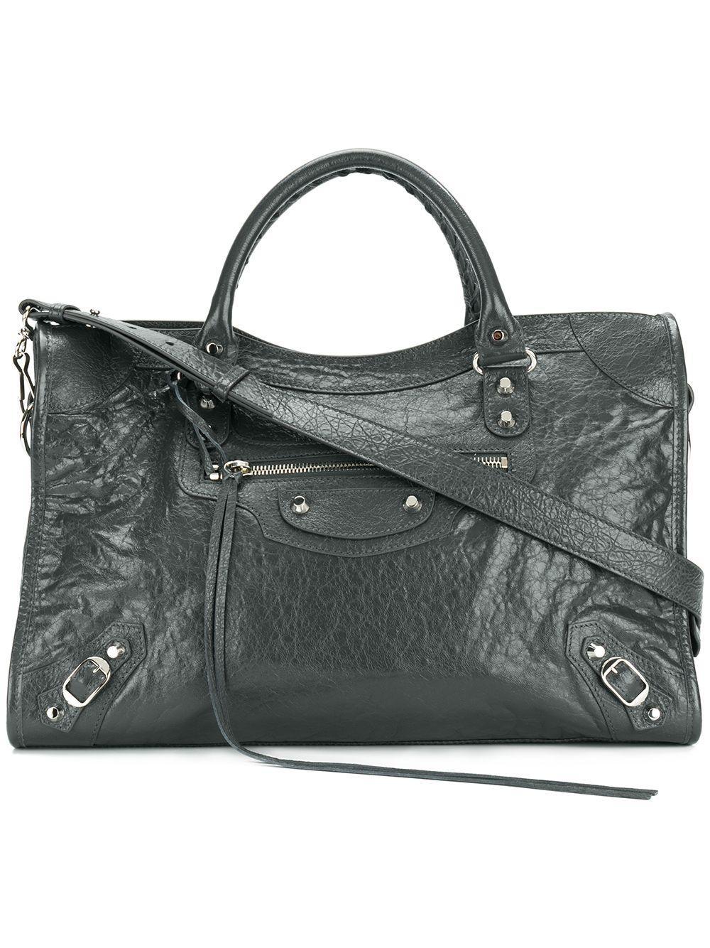 825765568f Balenciaga City Leather Shoulder Bag in Gray - Lyst