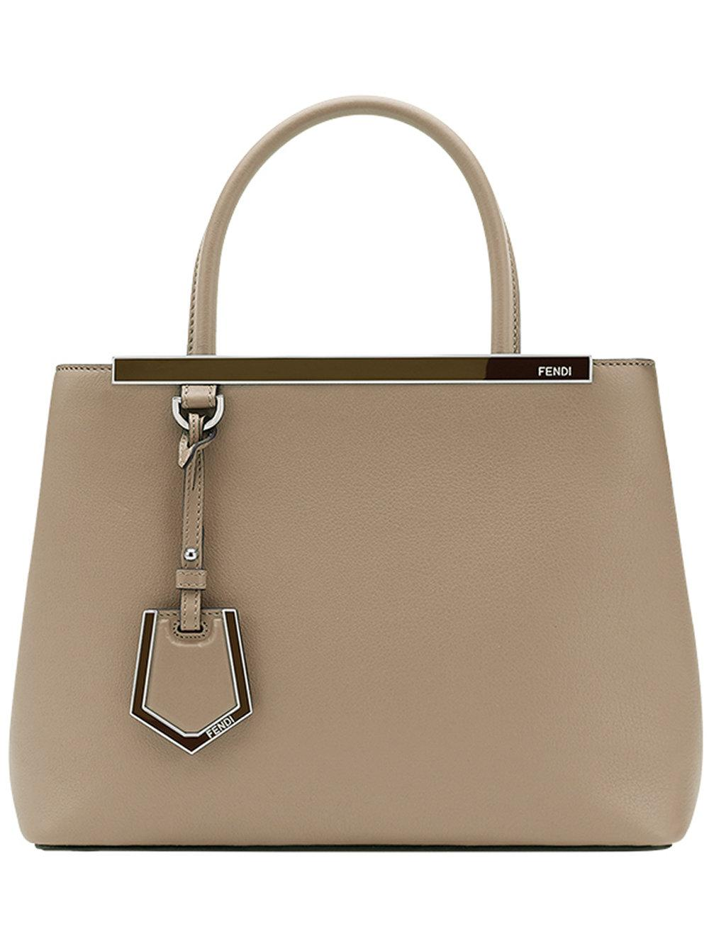 Fendi Petite 2jours Leather Shoulder Bag in Gray - Lyst c770b38895904