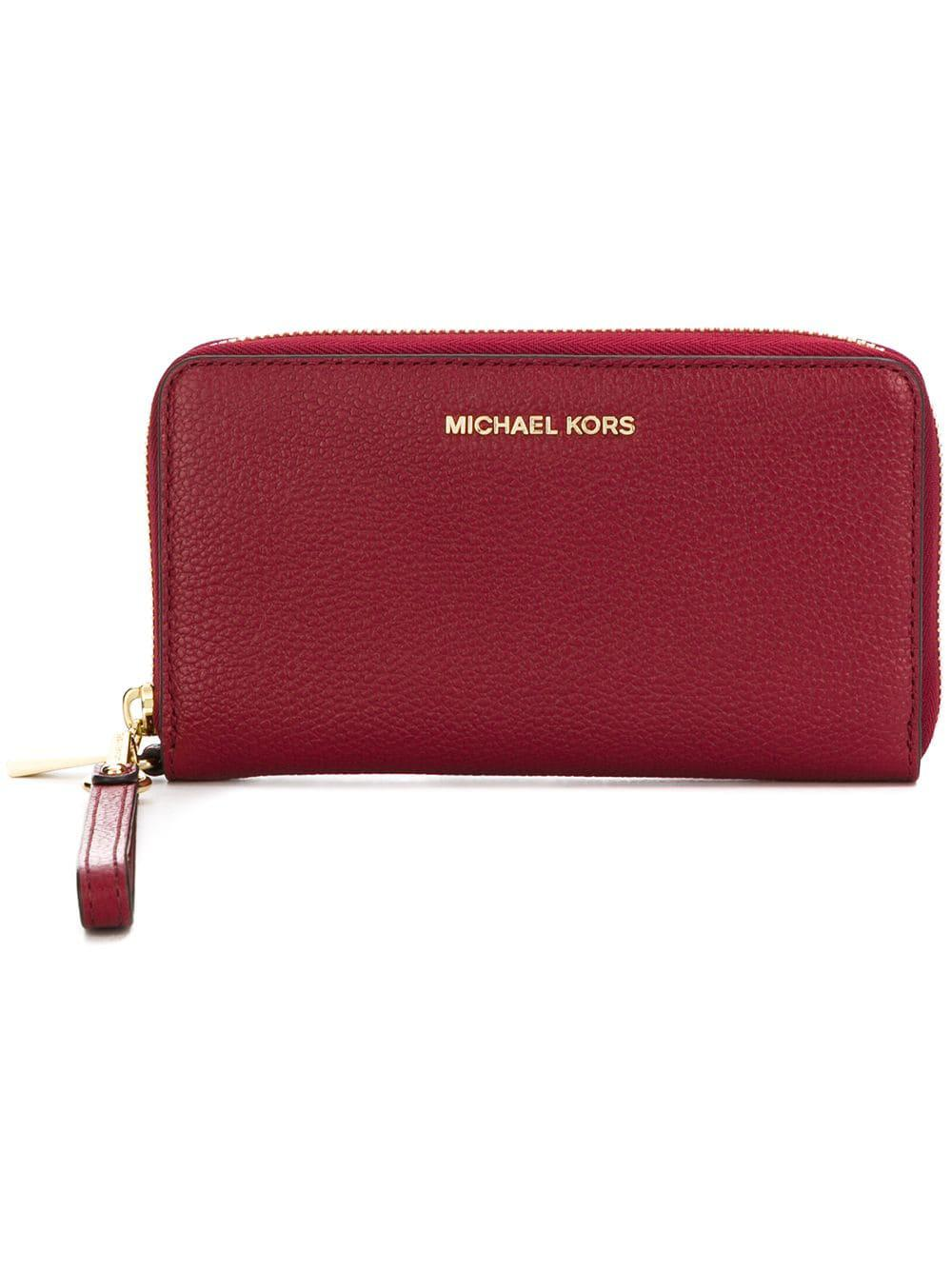 0a1f05449b27 Michael Michael Kors Mercer Leather Wristlet in Red - Lyst