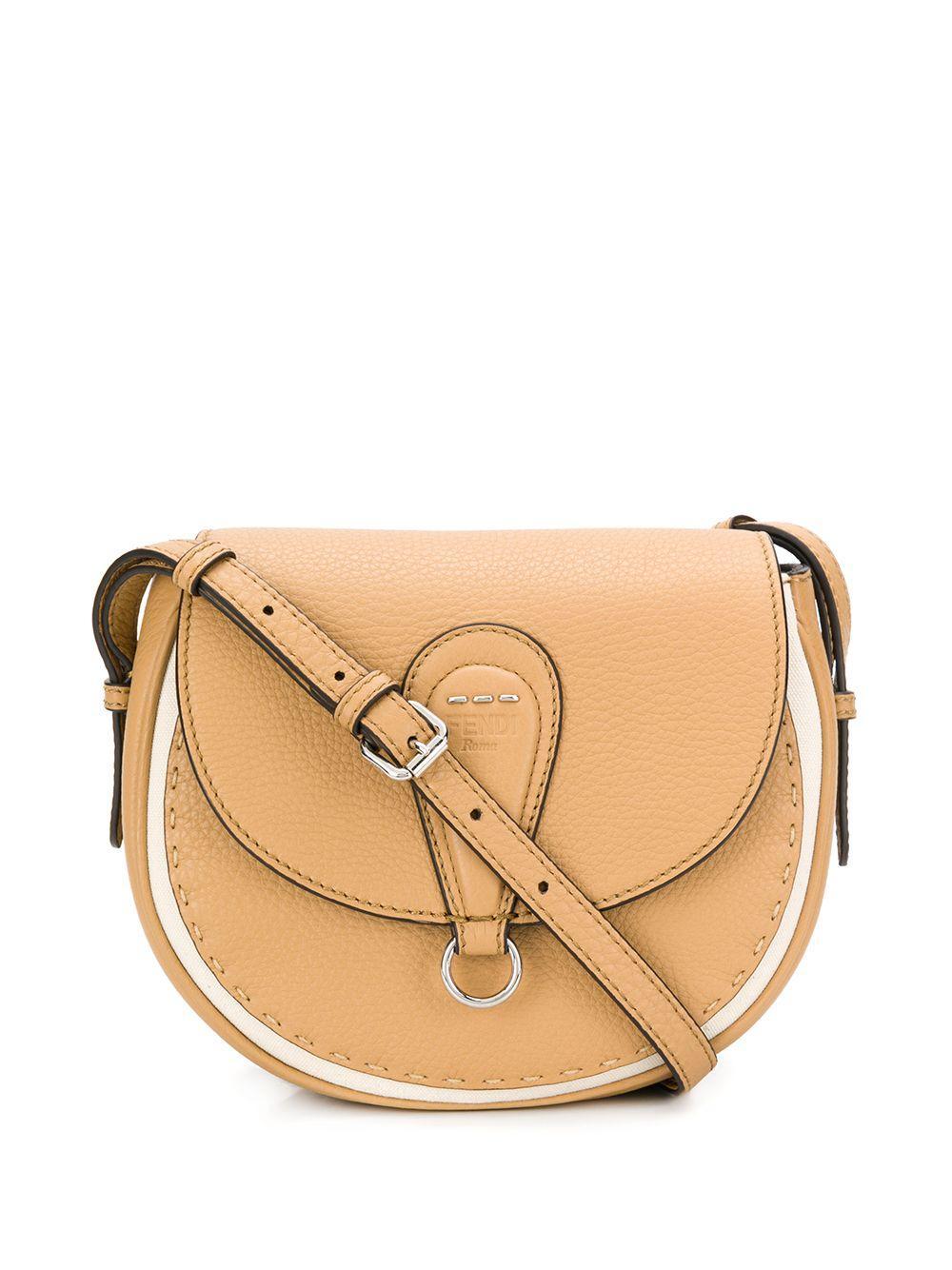 8aec8fb39f Lyst - Fendi Selleria Leather Shoulder Bag in Natural