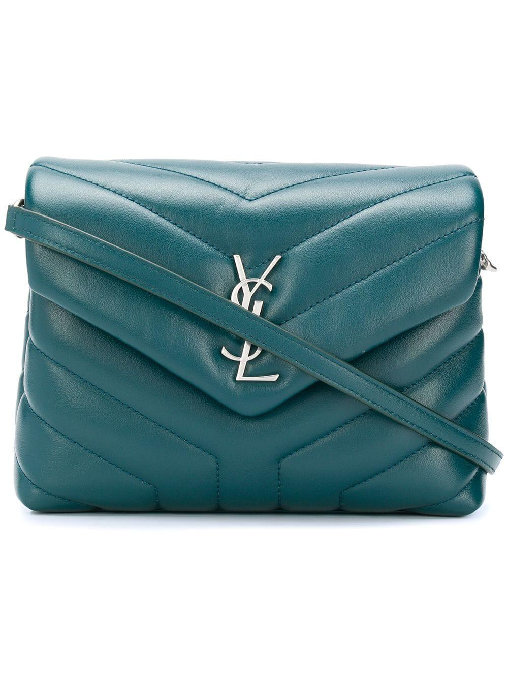 abf31a1e5a Saint Laurent Monogram Leather Shoulder Bag in Green - Lyst