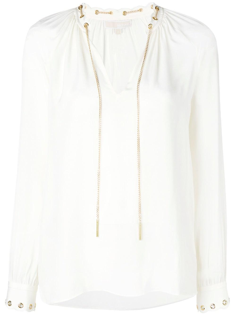 38203a5f6a076 MICHAEL Michael Kors Silk Top With Chain in White - Lyst