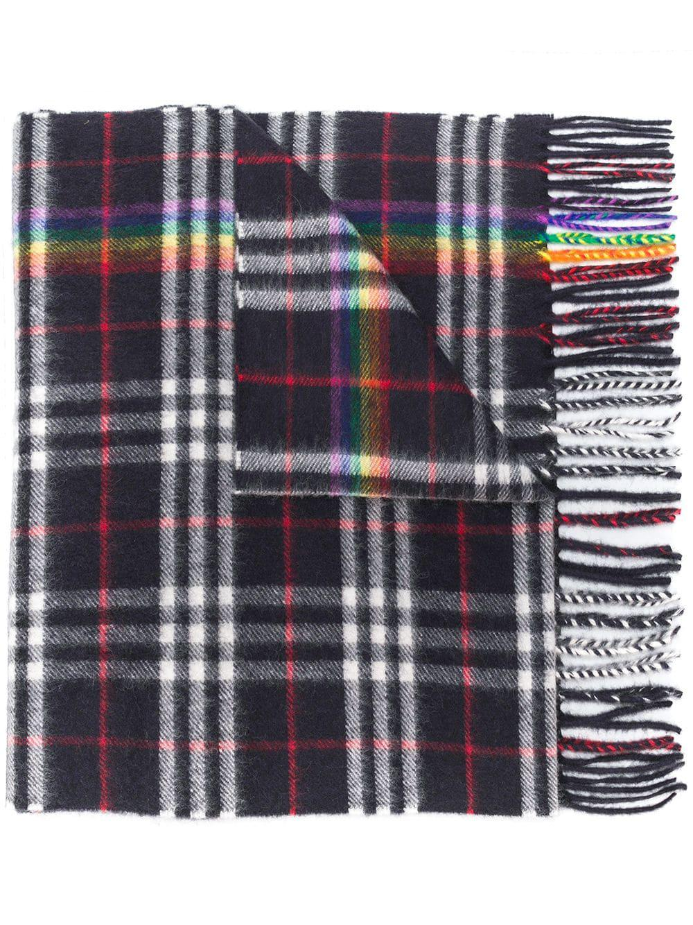 Burberry Classic Cashmere Scarf With Vintage Rainbow Check in Black ... 39130118e2