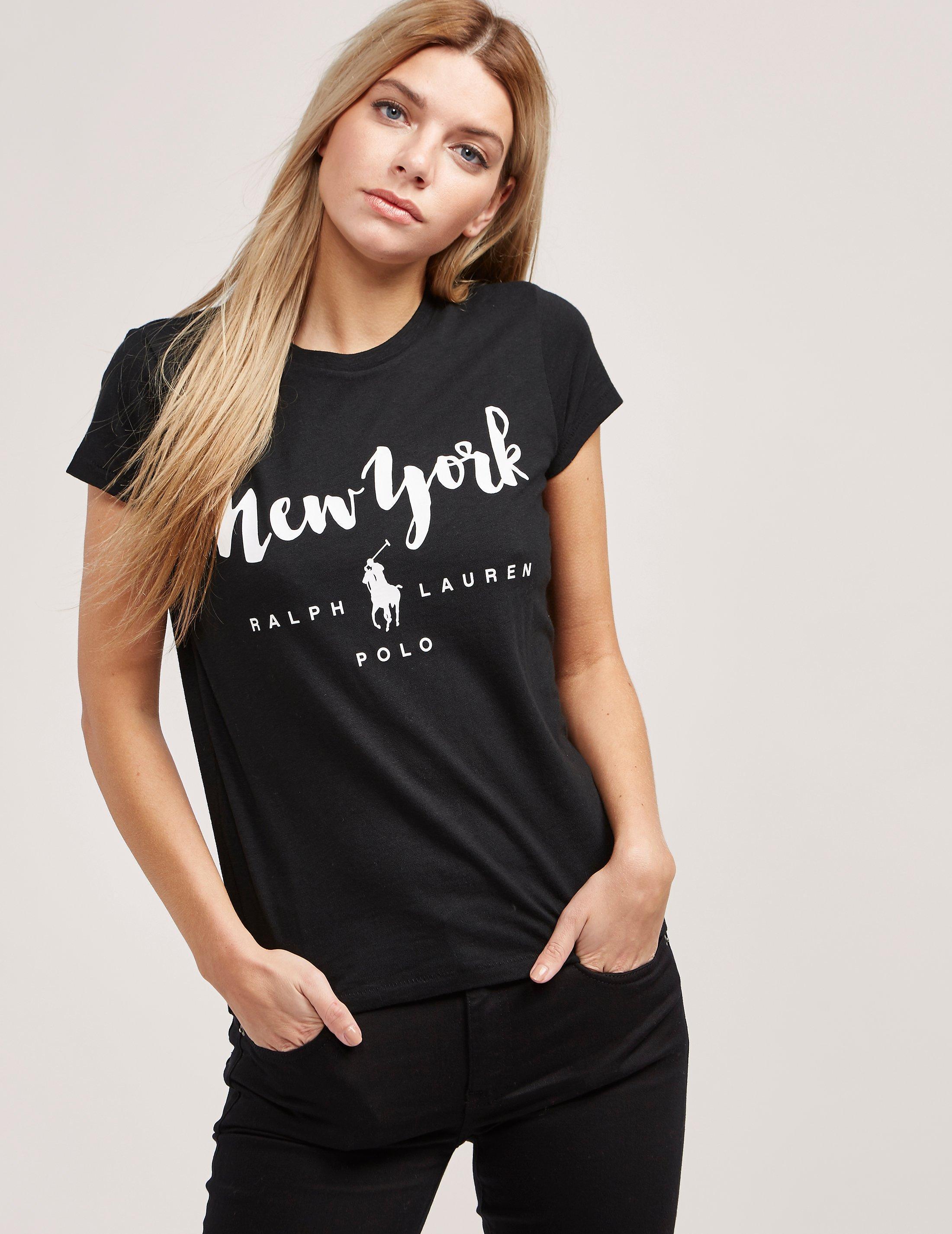 fb8715901ea82 Lyst - Polo Ralph Lauren Womens New York Short Sleeve T-shirt Black ...
