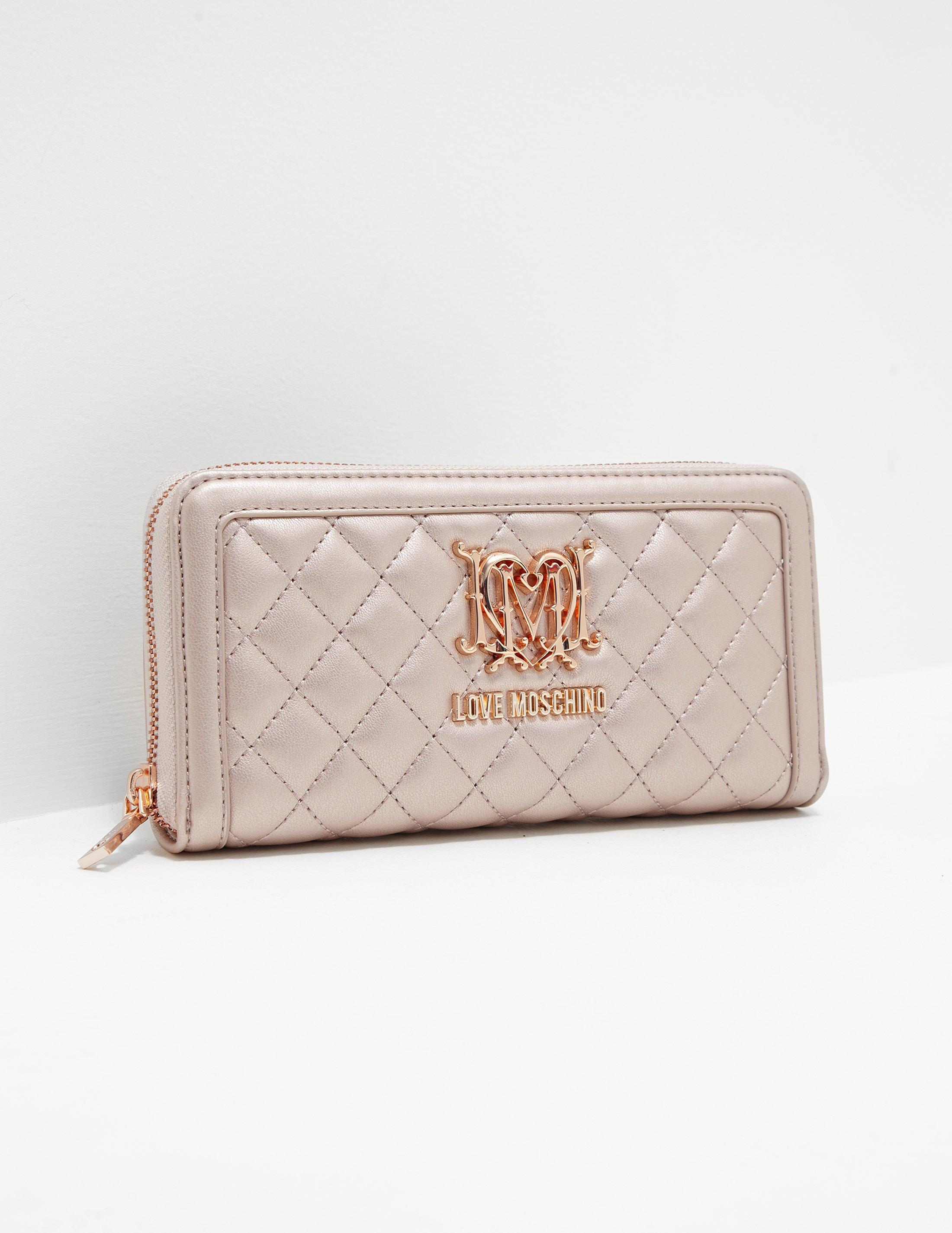 9767c10ee09 Love Moschino Womens Quilted Zip Around Purse Rose Gold Lyst