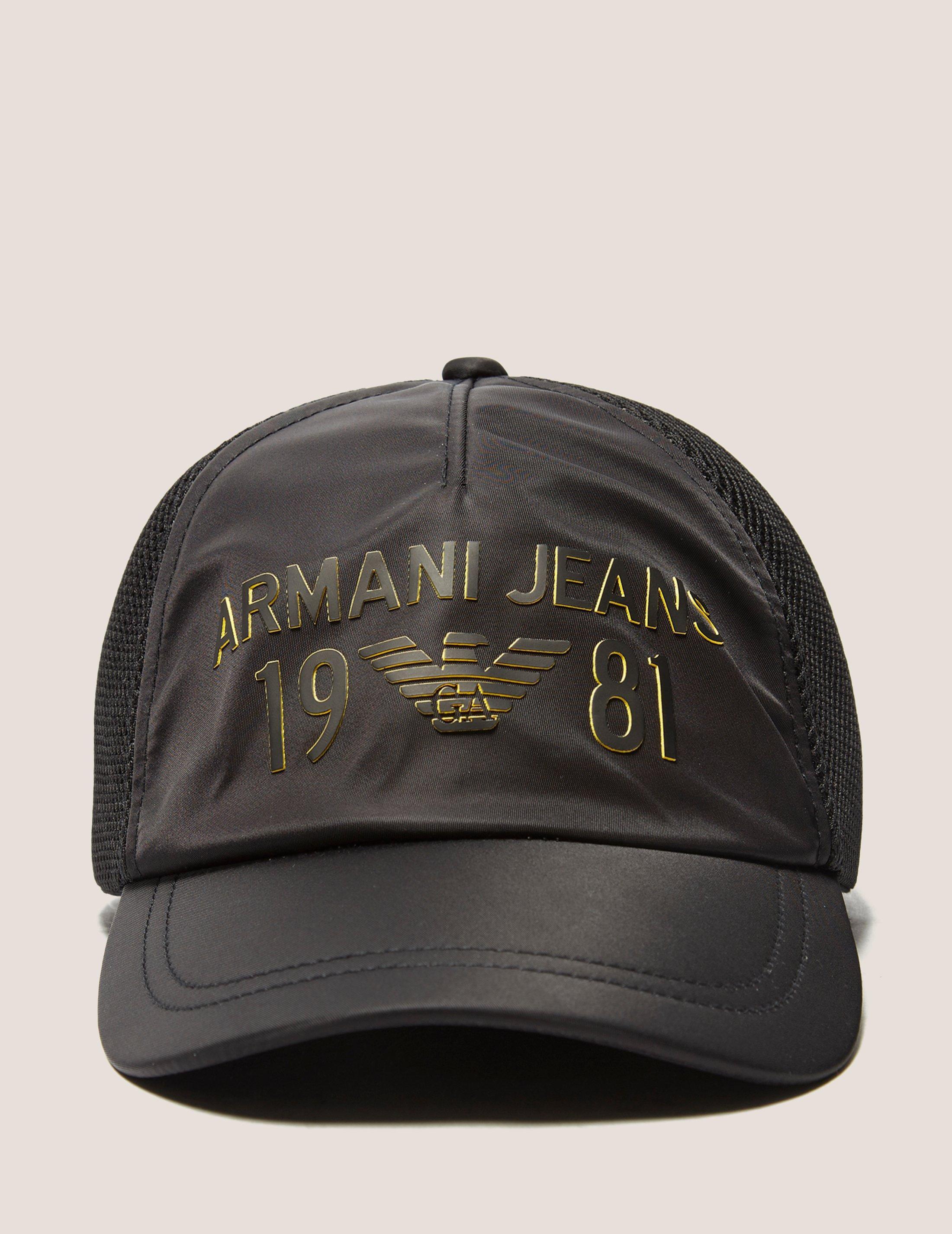 3930aaed75c Lyst - Armani Jeans Mens Large Logo Baseball Cap Black in Black for Men